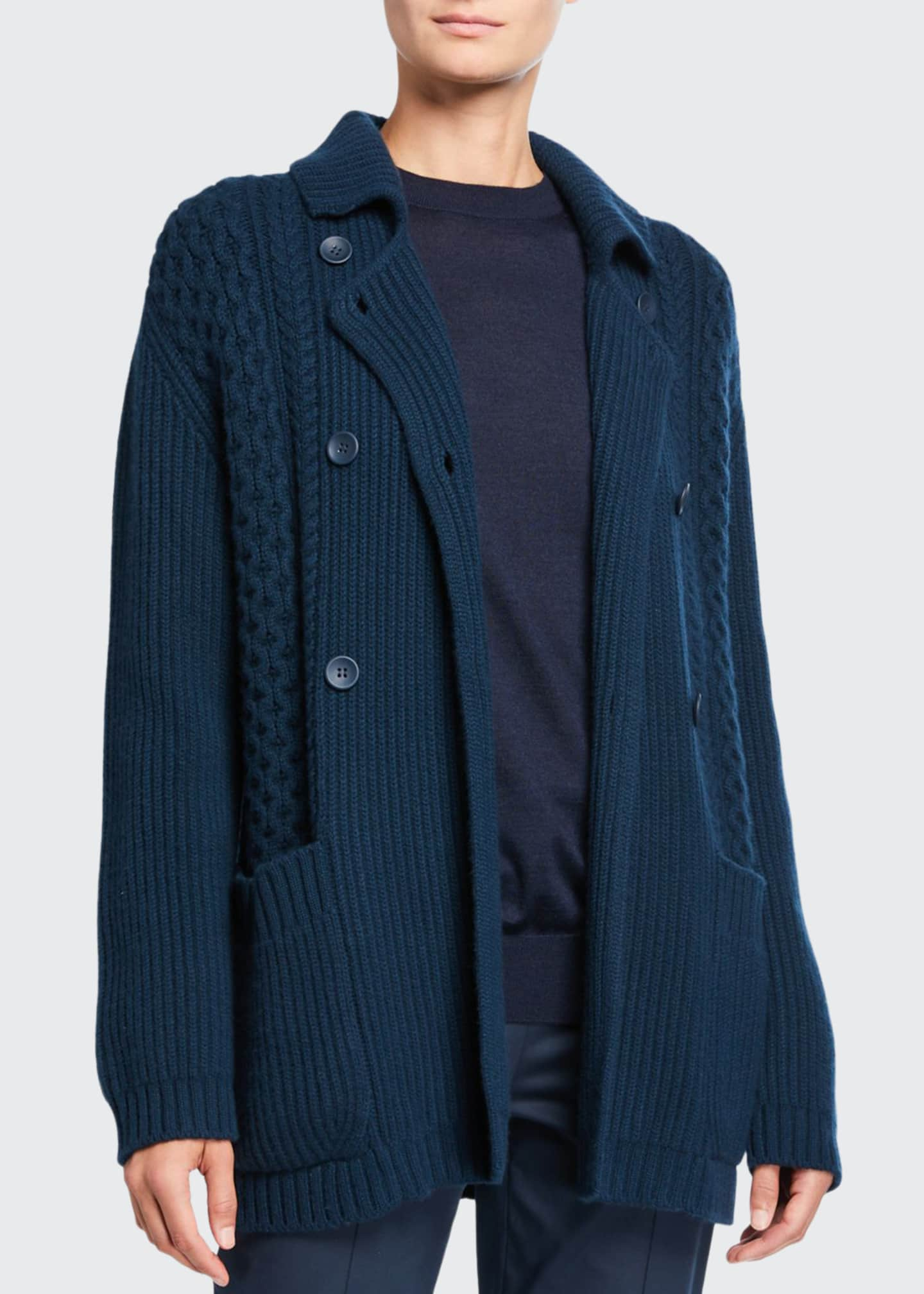 Loro Piana Baby Cashmere Cable-Knit Double-Breasted Sweater