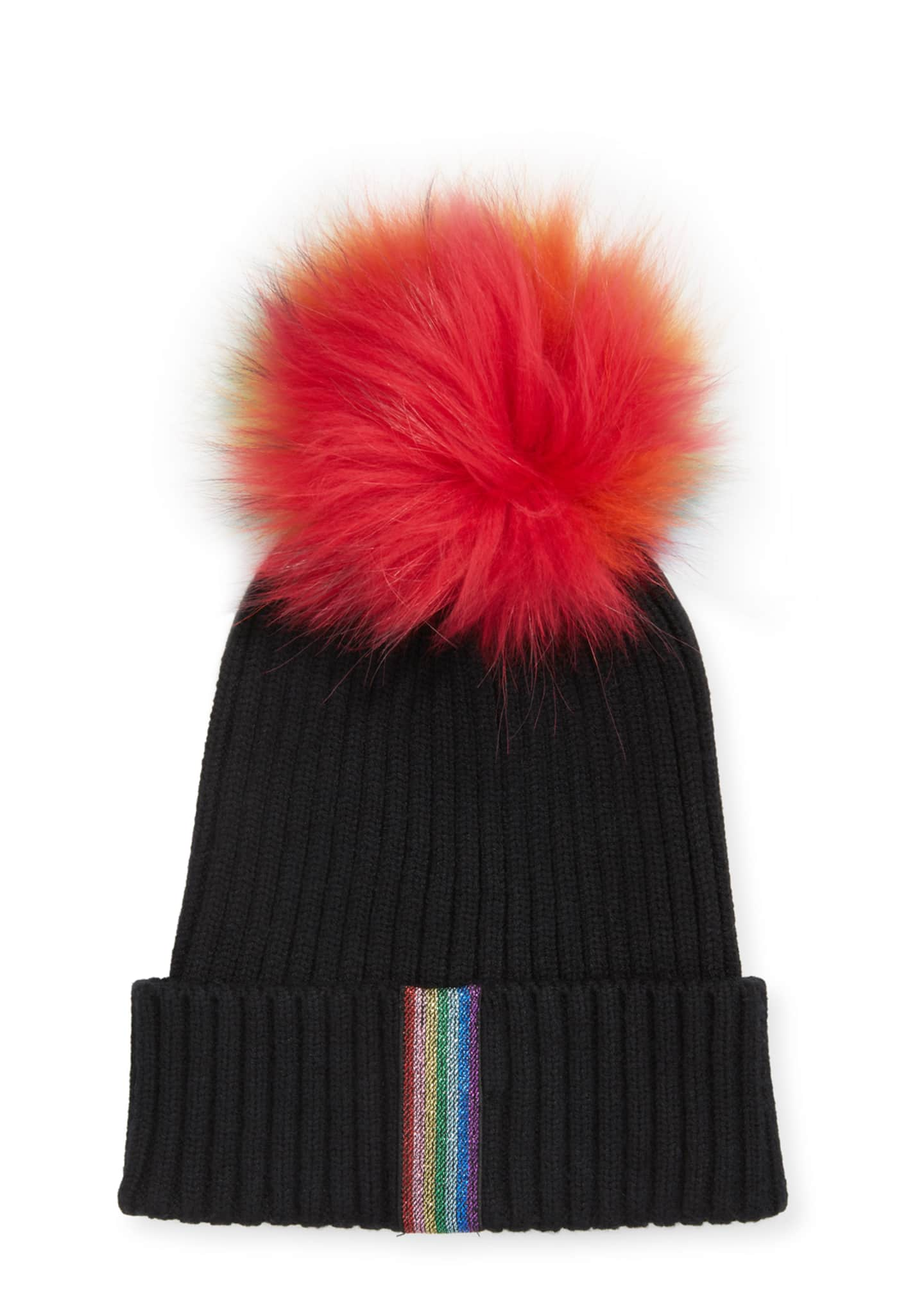 Bari Lynn Ribbed Rainbow Lurex Taping Beanie Hat