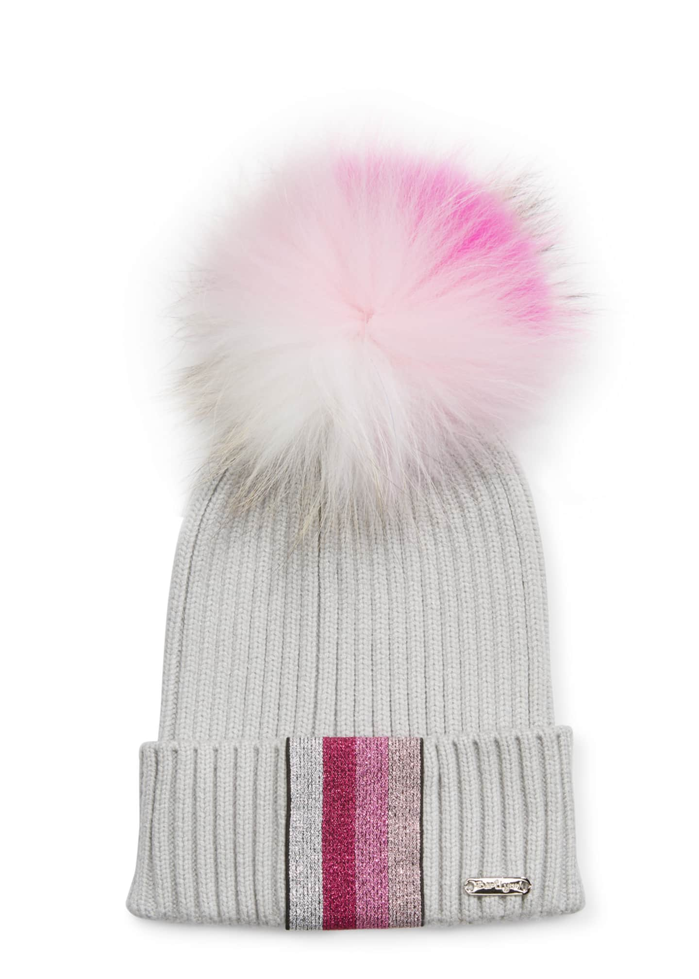 Bari Lynn Ribbed Lurex Taping Beanie Hat w/