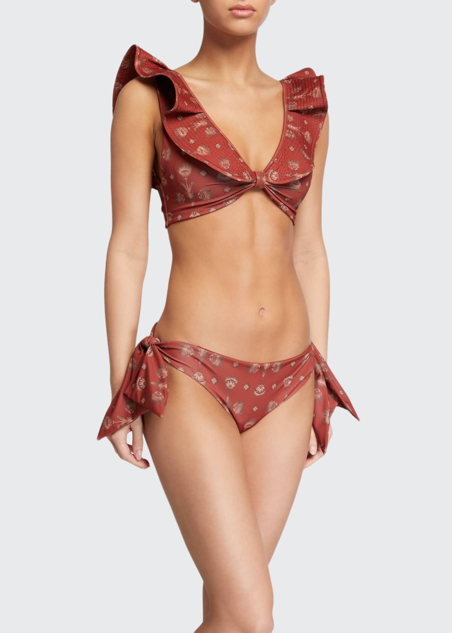 Johanna Ortiz Versos Sonoros Ruffle Bikini Top