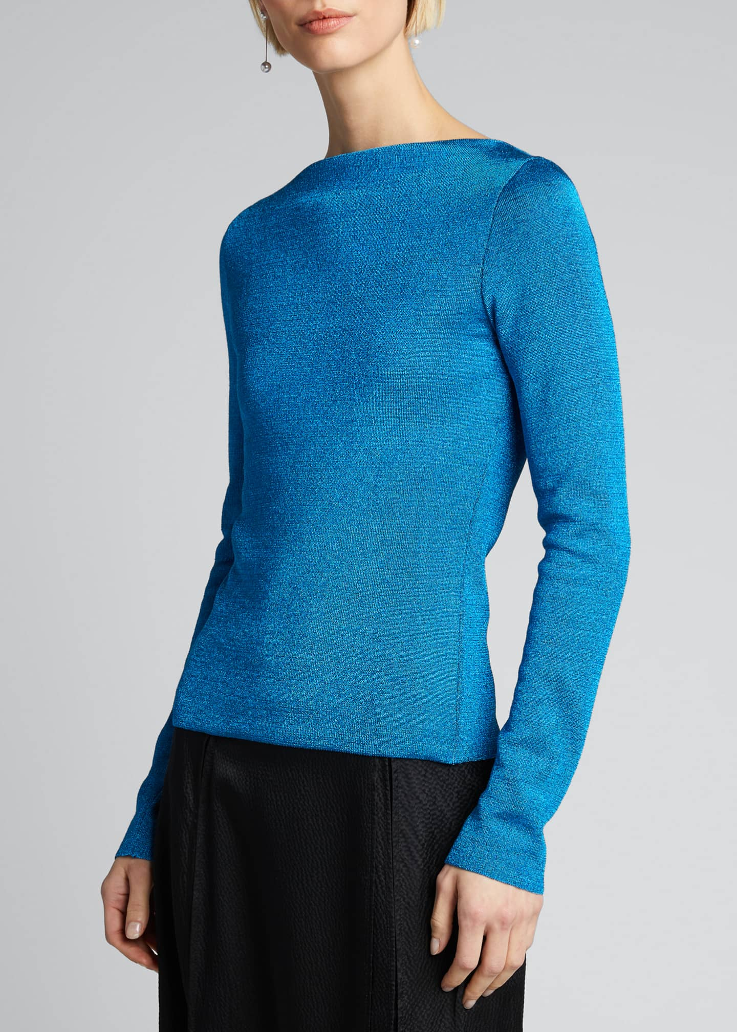 Image 3 of 5: Zadar Metallic Boat-Neck Sweater
