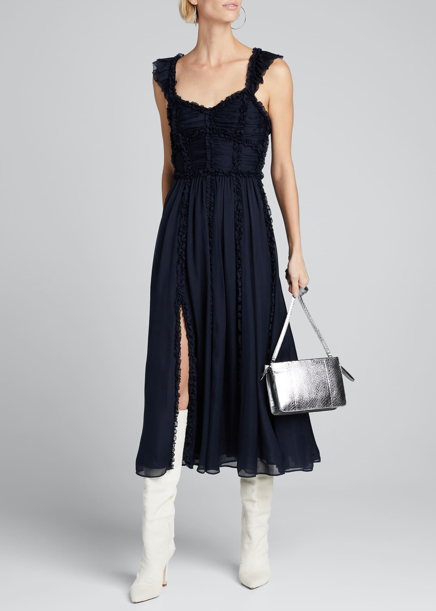 Ulla Johnson Florence Shirred Silk Ruffle Midi Dress