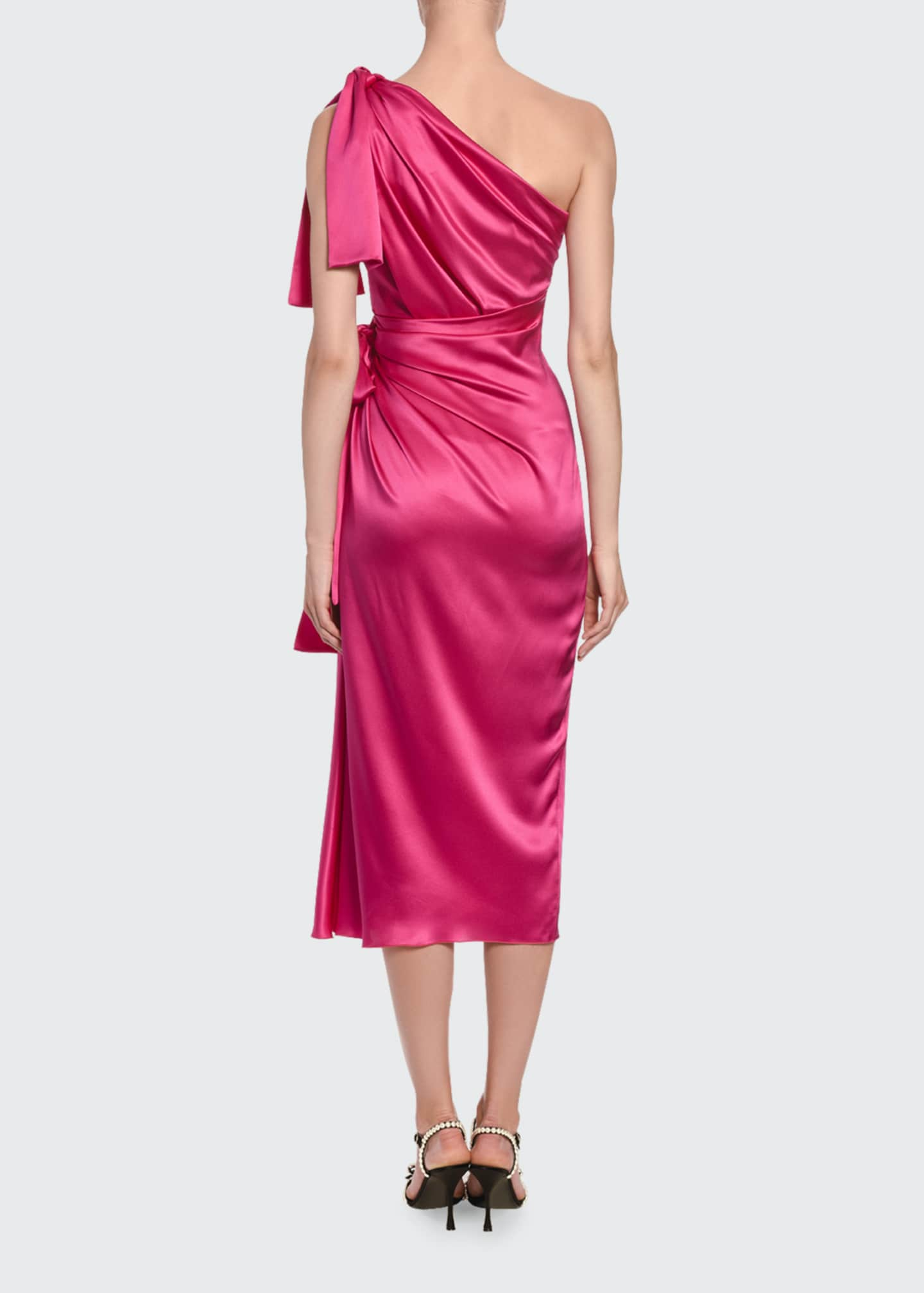 Image 2 of 2: Silk-Taffeta One-Sleeve Ruched Cocktail Dress