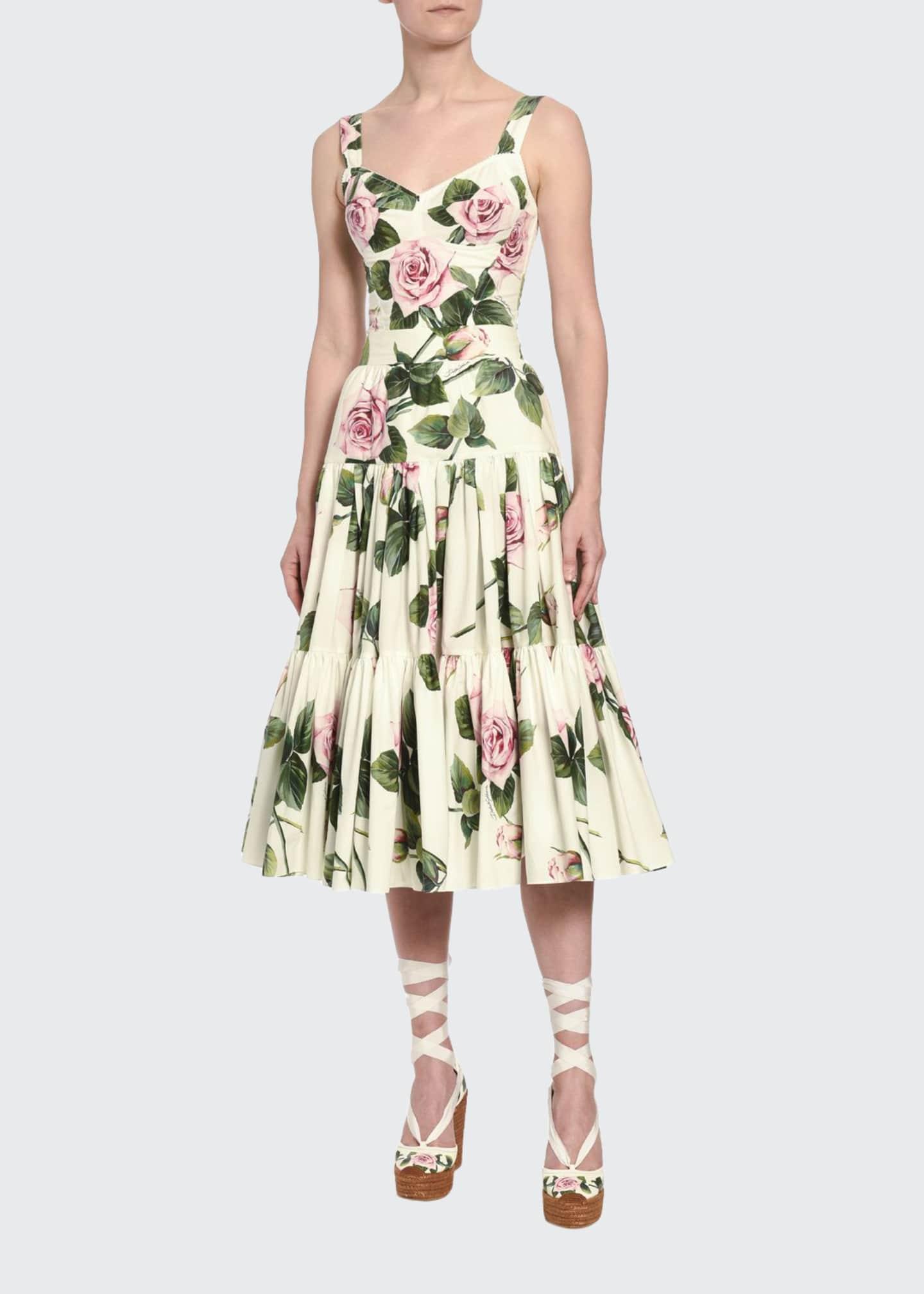 Dolce & Gabbana Floral-Print Poplin Corset Top