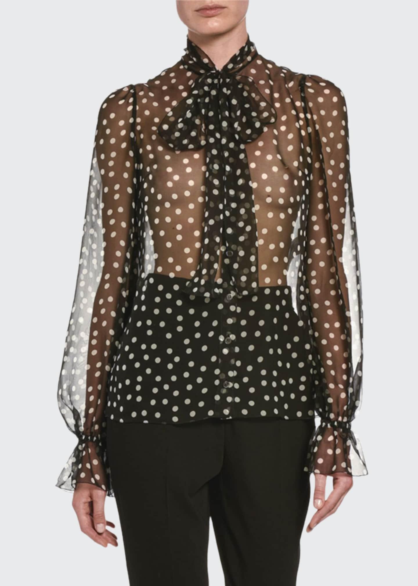 Dolce & Gabbana Polka-Dot-Print Chiffon Tie-Neck Blouse