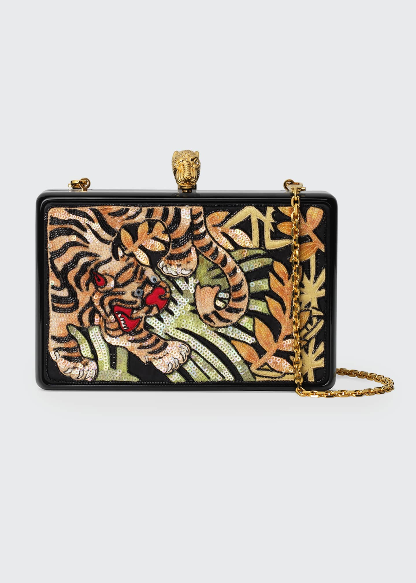Gucci Broadway Sequin Tiger Box Clutch Bag