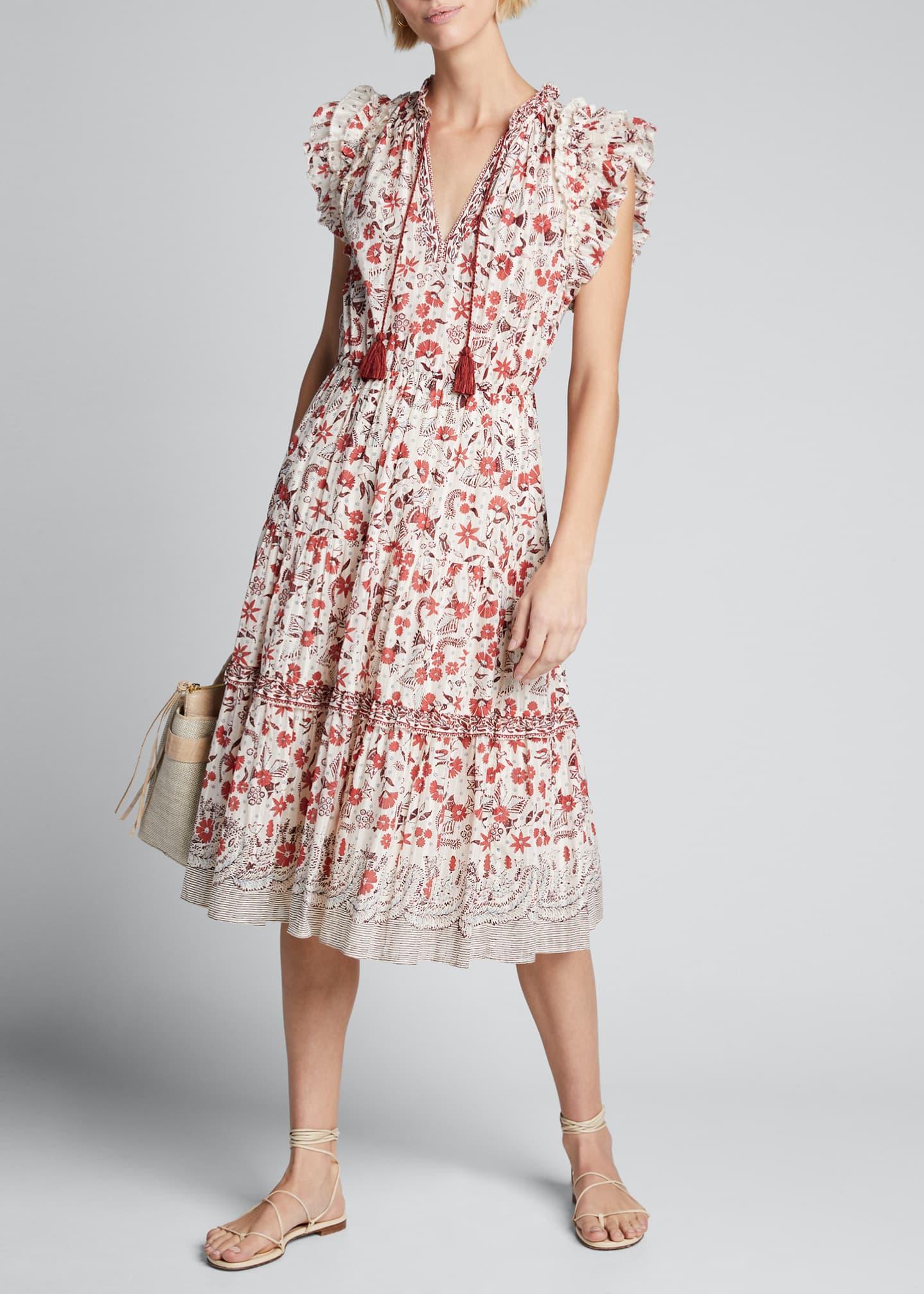 Ulla Johnson Prunella Printed Tie-Front Midi Dress