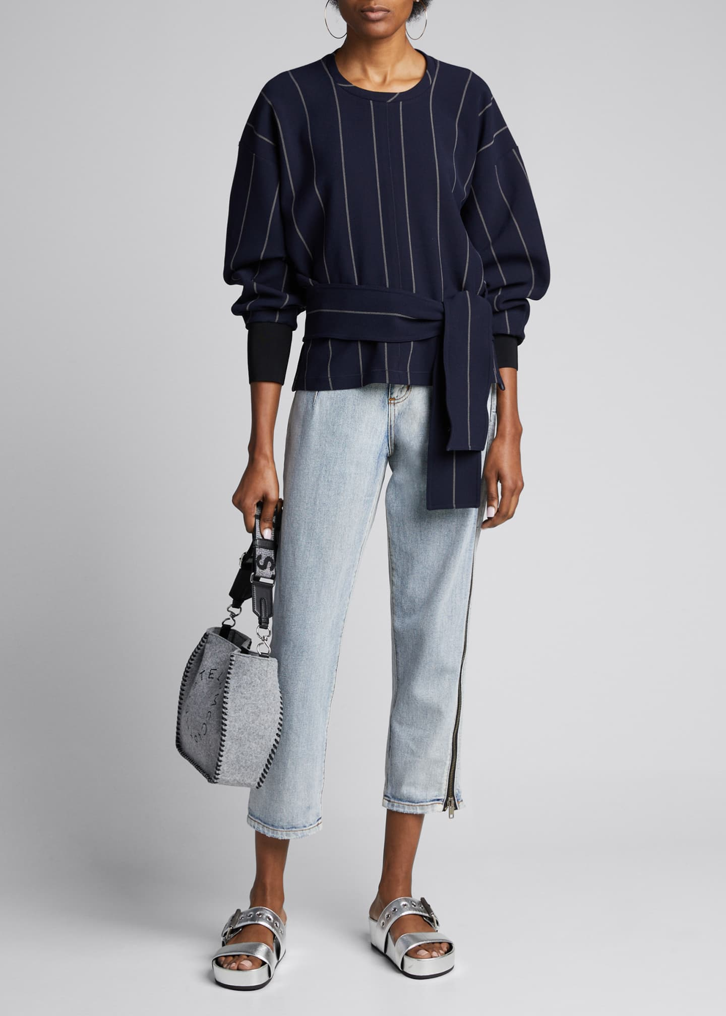 3.1 Phillip Lim Long-Sleeve Striped Pullover w/ Belt