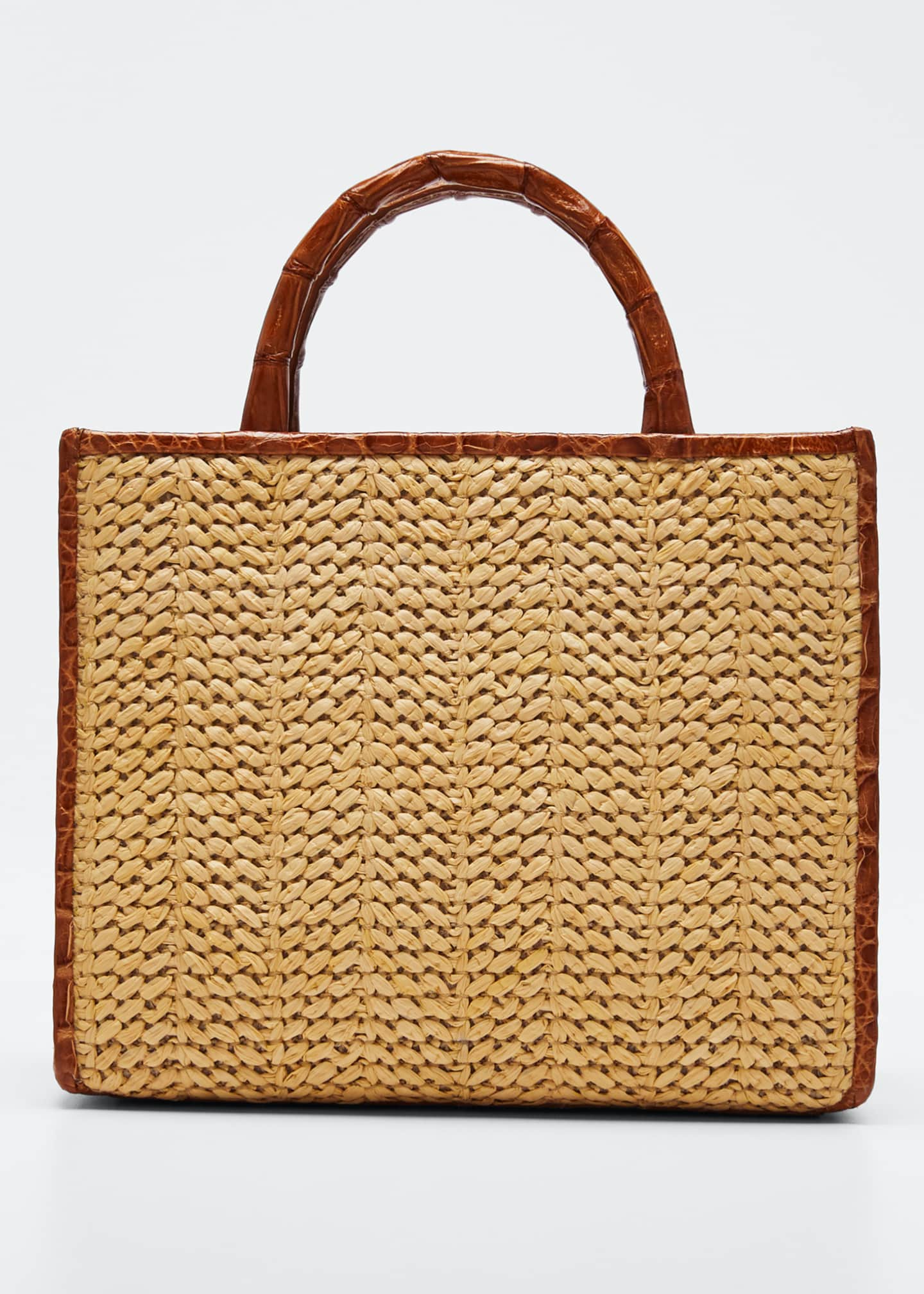 Nancy Gonzalez Double Handle Mini Raffia Tote Bag