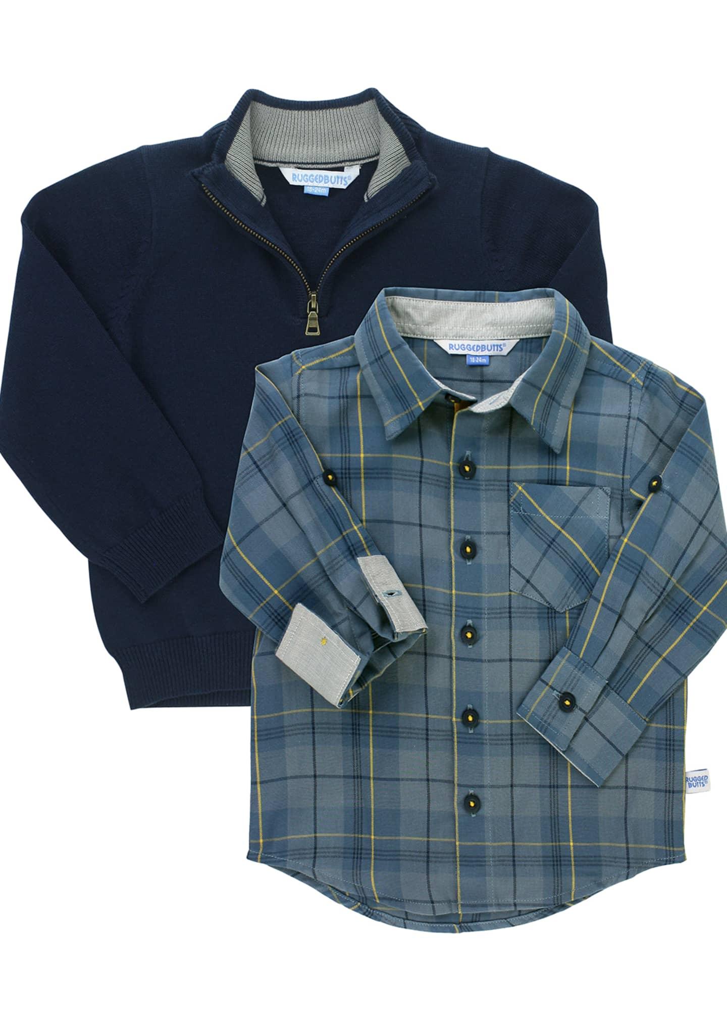 RuffleButts Boy's Noah Plaid Shirt w/ 1/4-Zip Pullover