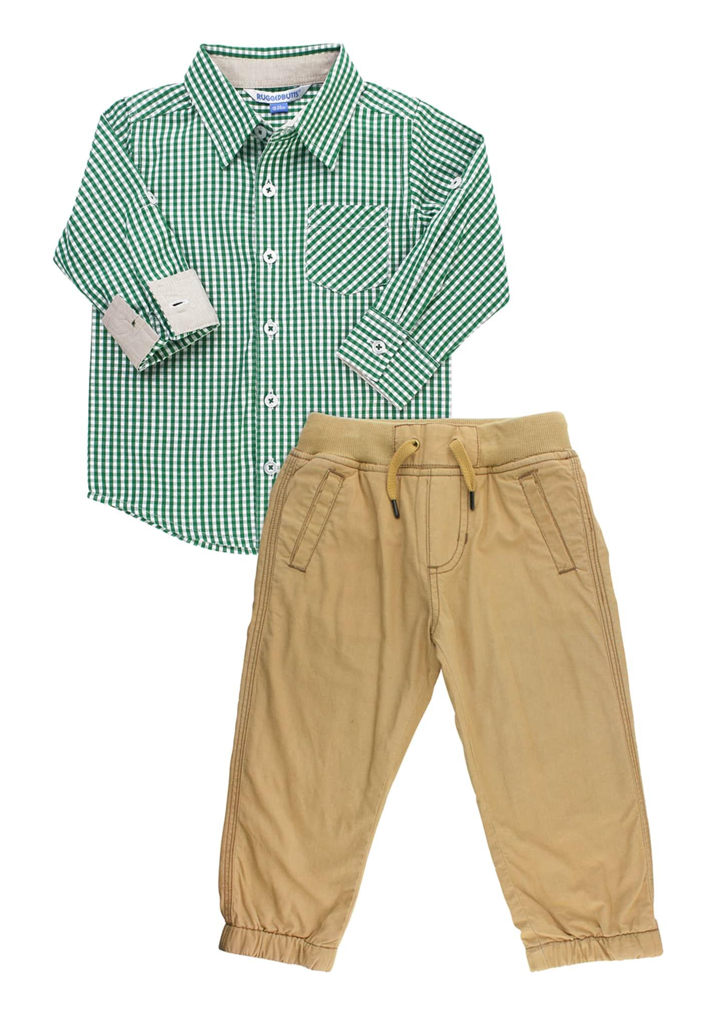 RuffleButts Boy's Gingham Shirt w/ Khaki Chino Pants,