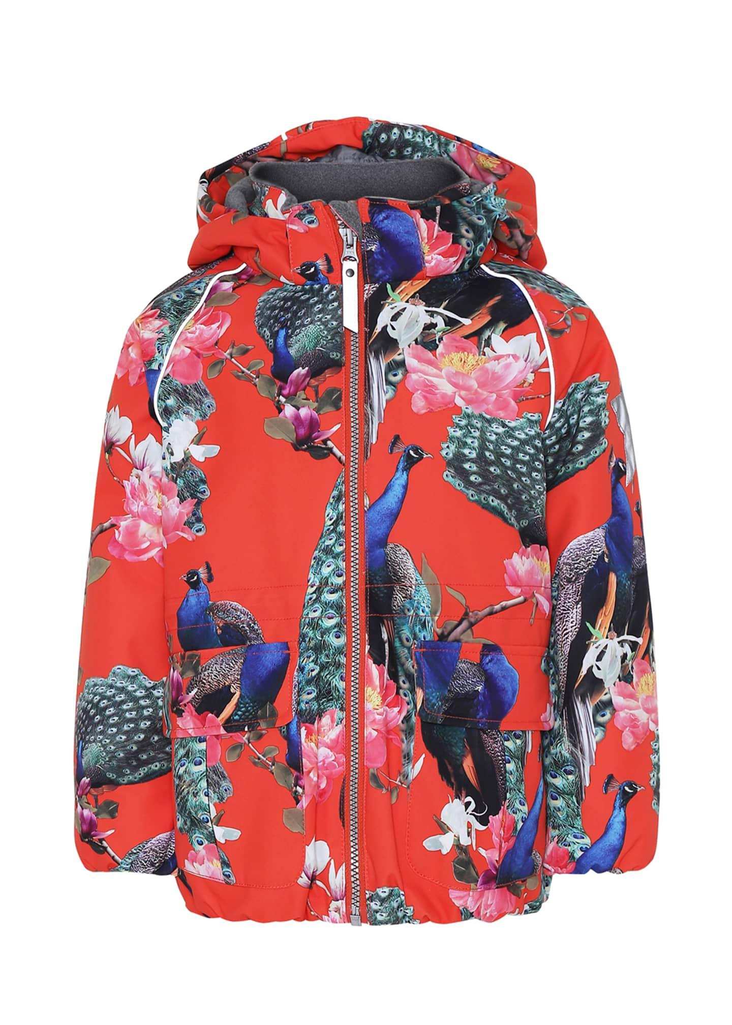 Molo Girl's Cathy Peacock Print Functional Waterproof Jacket,