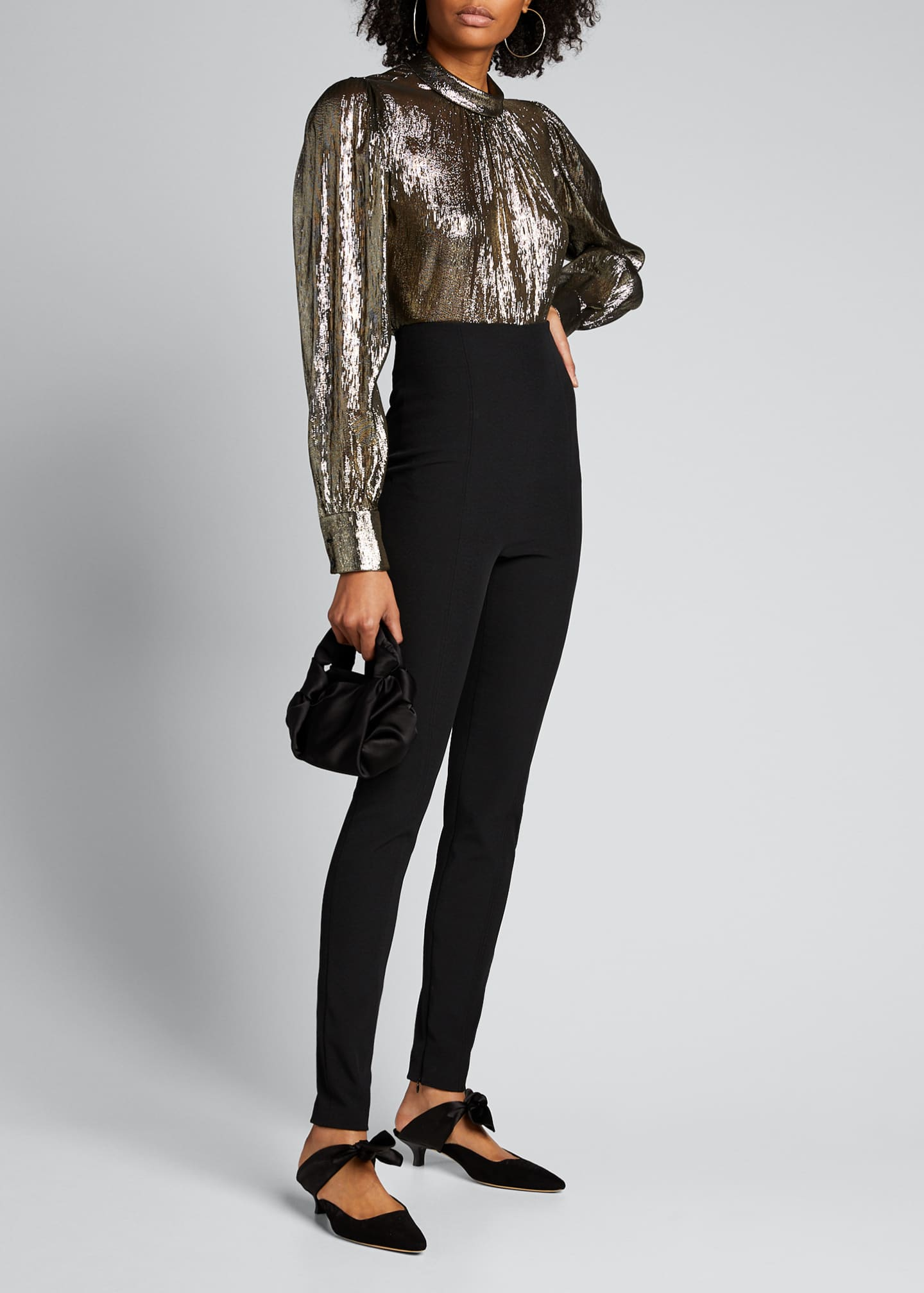 A.L.C. Lydia Metallic Mock-Neck Long-Sleeve Top