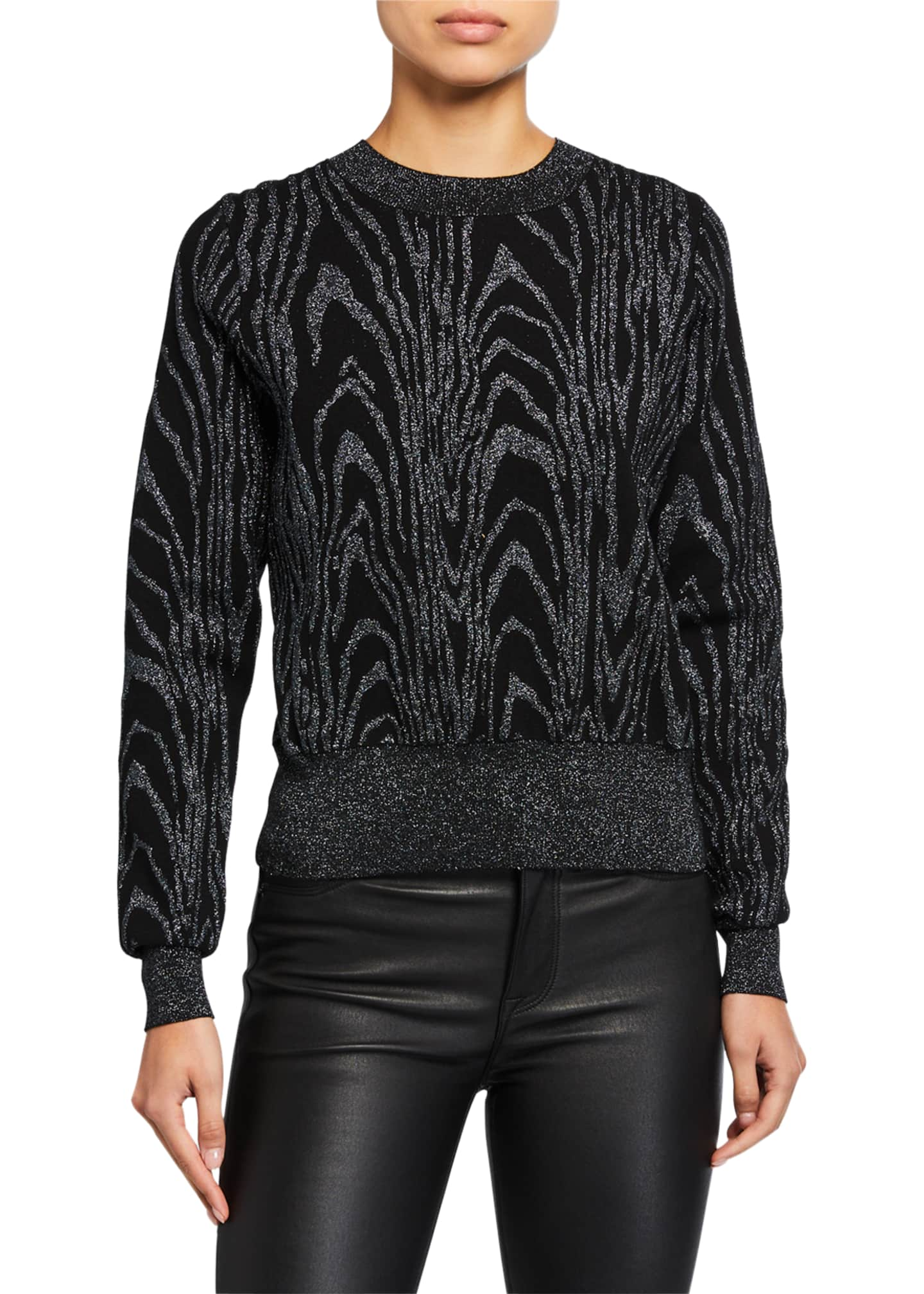 A.L.C. Jesper Metallic Animal-Print Sweater
