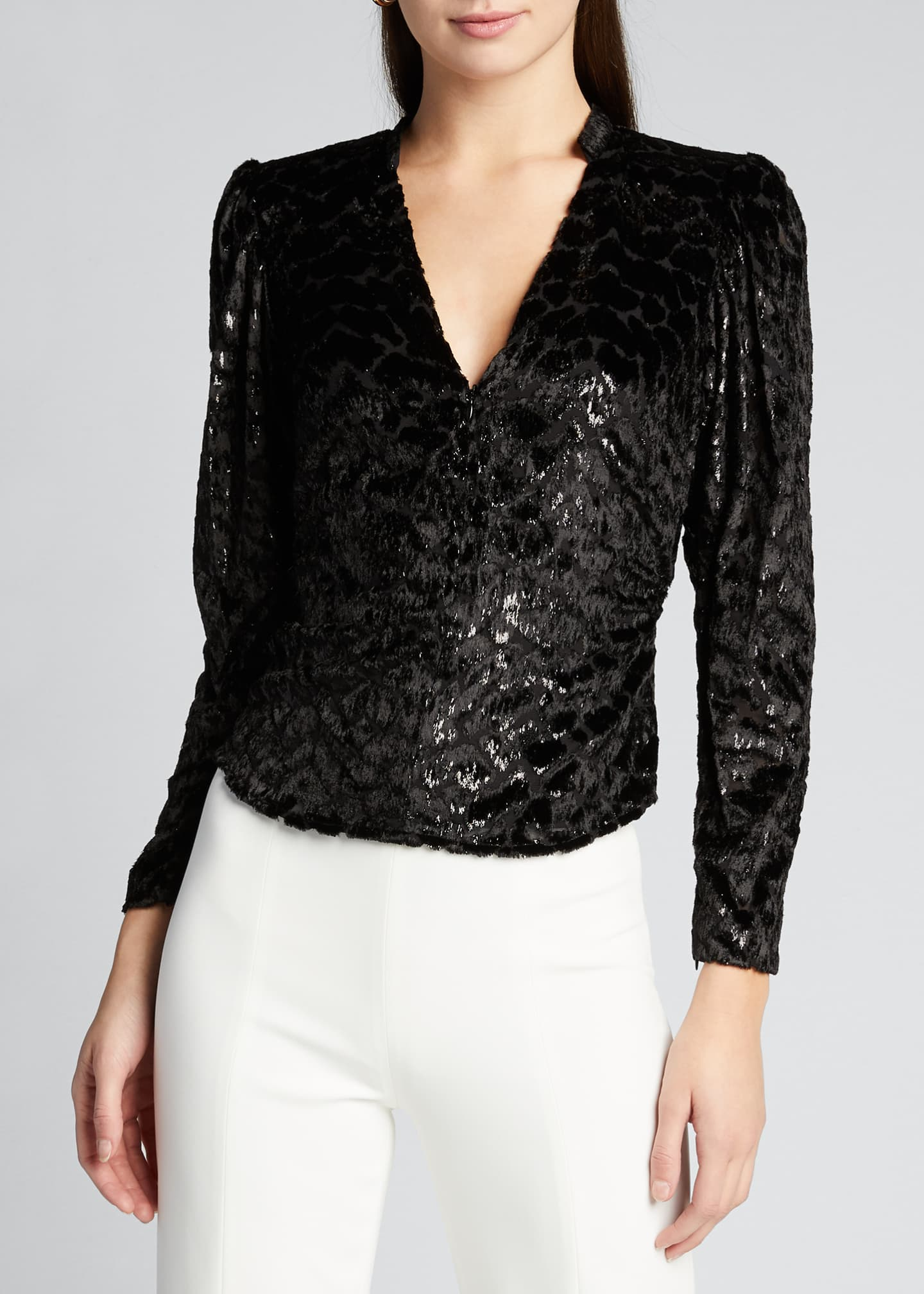 Image 3 of 5: Canyon V-Neck Burnout Velvet Top