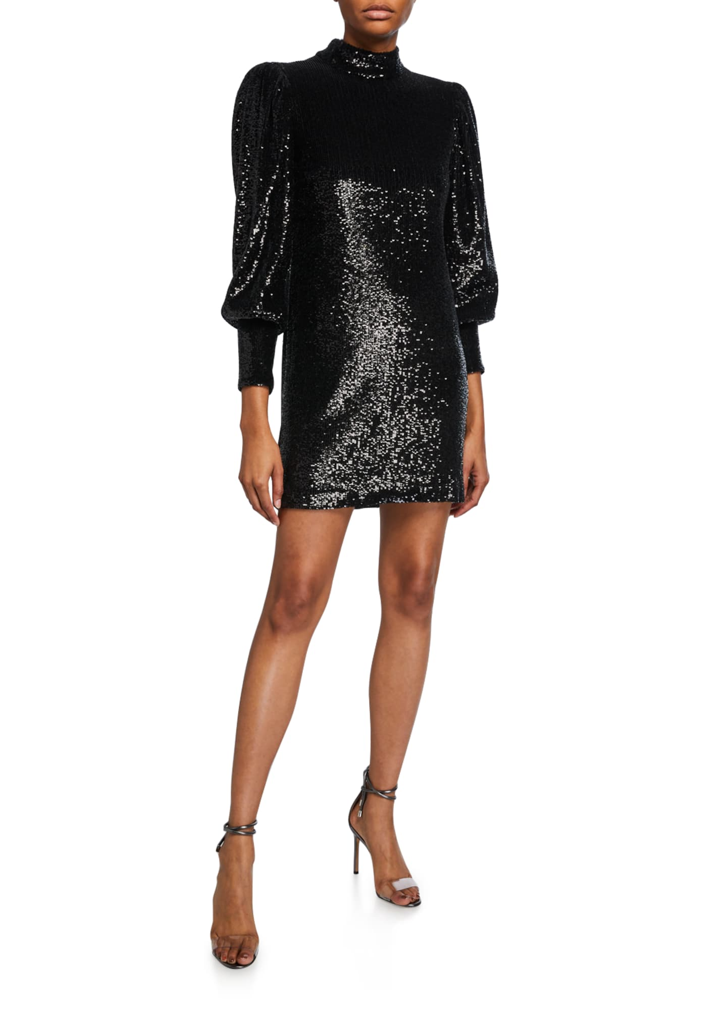 A.L.C. Christy Sequin Mock-Neck Blouson-Sleeve Mini Dress