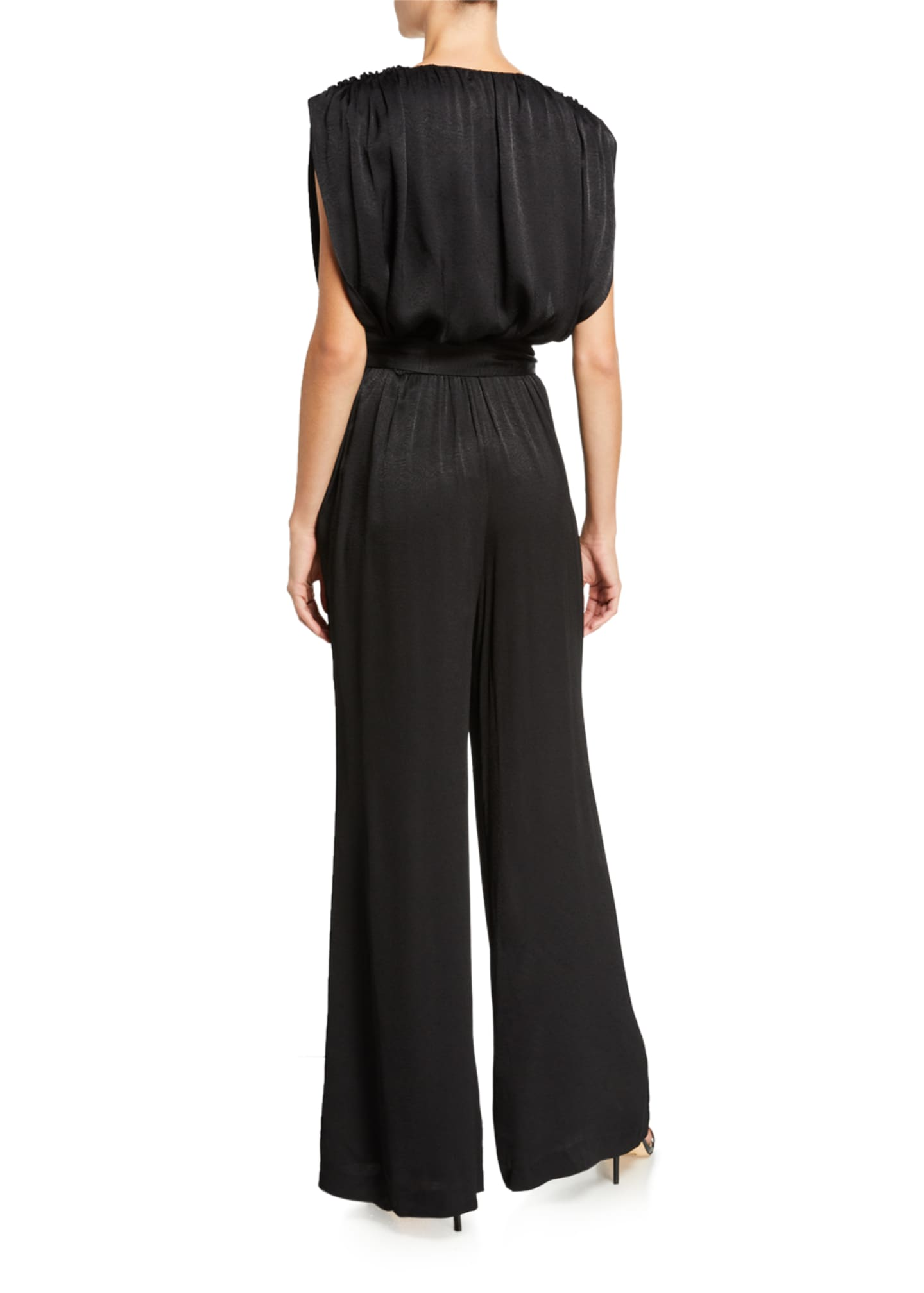 Image 2 of 2: Astrid Plunging Wide-Leg Jumpsuit