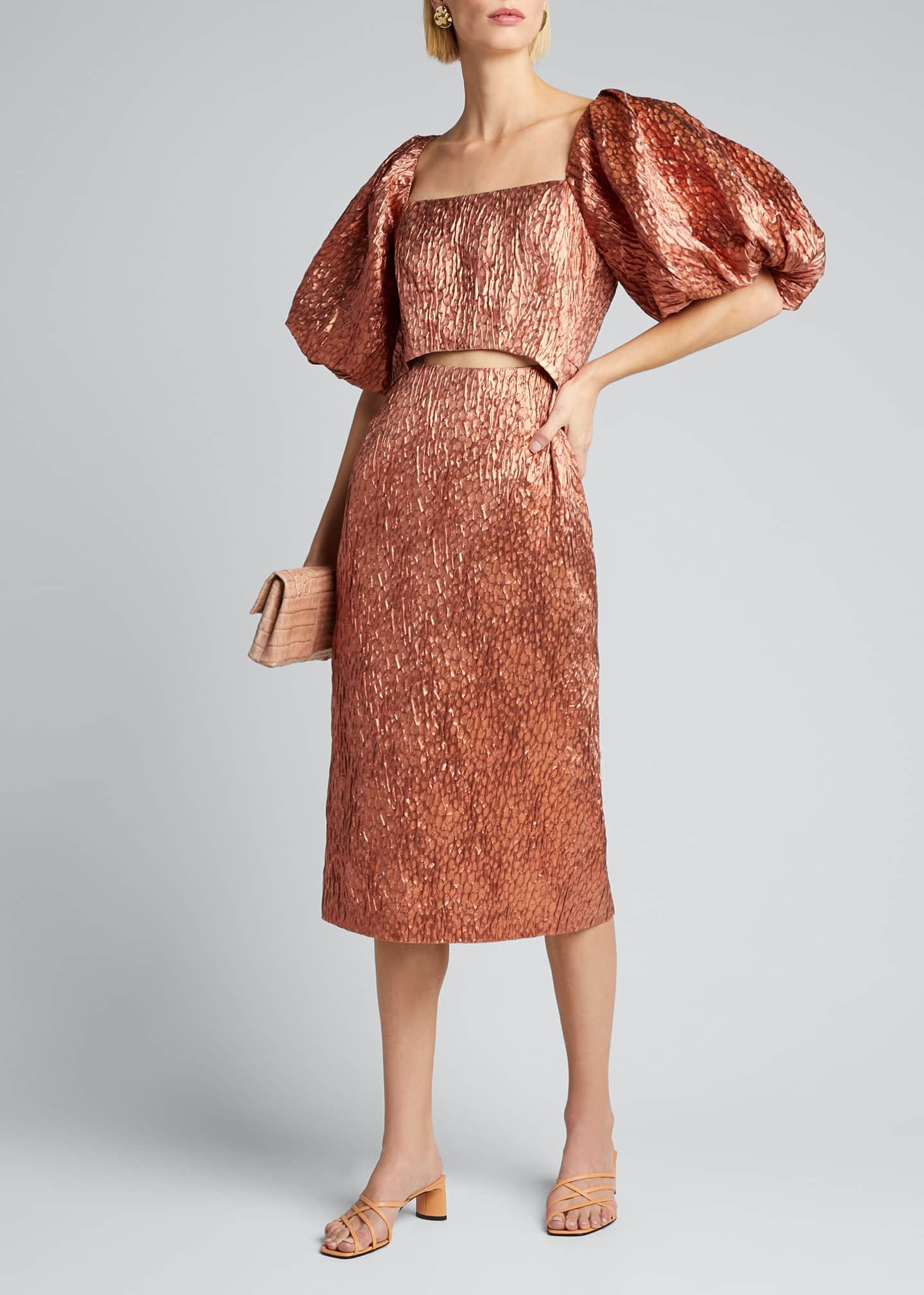 Rachel Comey Limbara Puff-Sleeve Cutout Cocktail Dress
