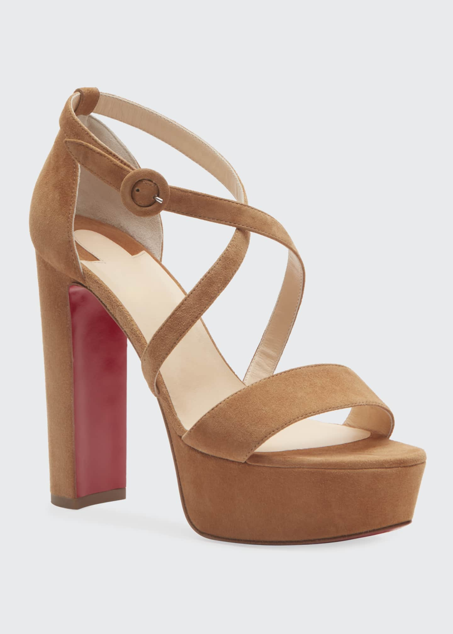 Image 2 of 2: Loubi Suede Red Sole Platform Sandals