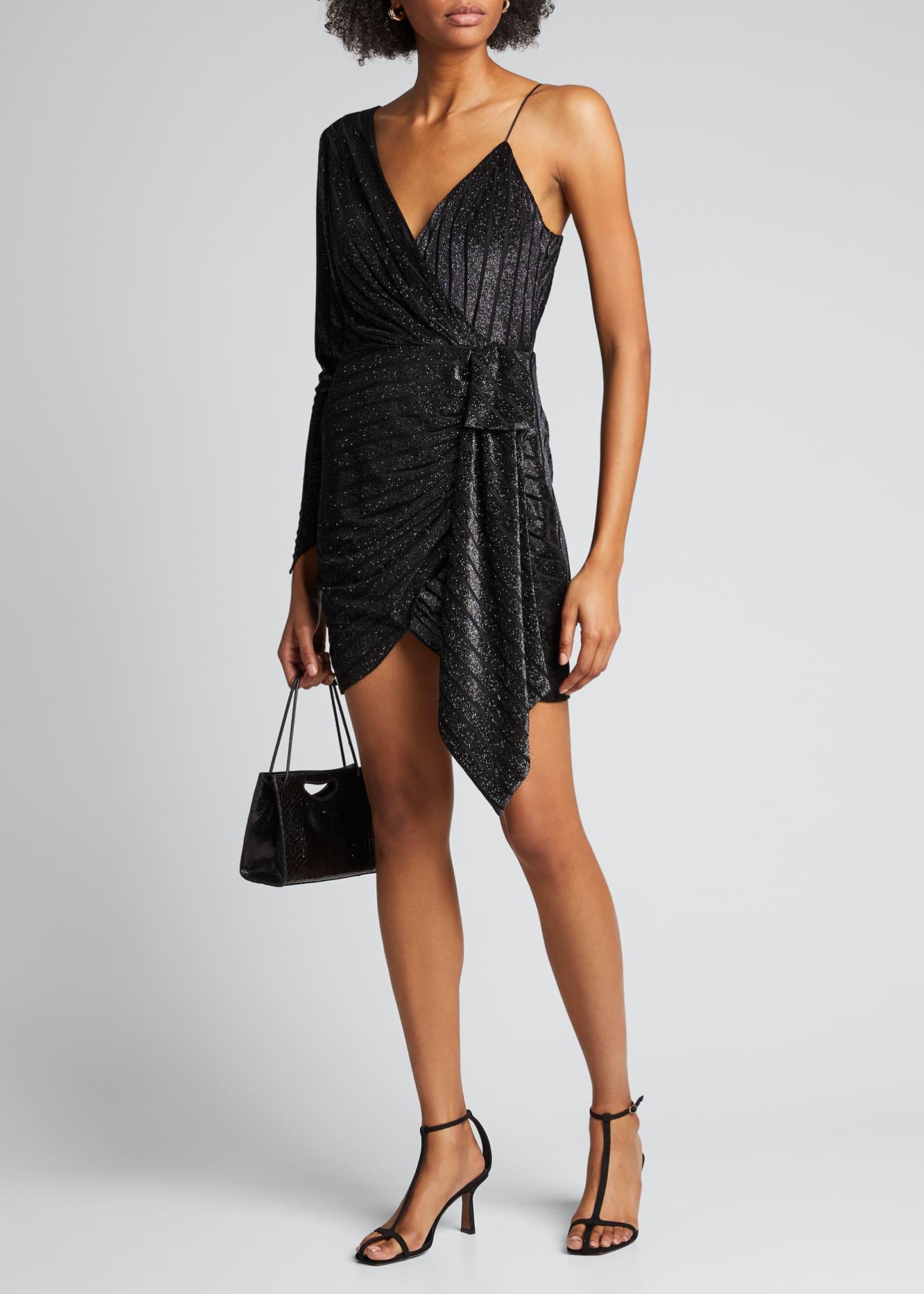 Retrofete Carole Metallic One-Shoulder Cocktail Dress