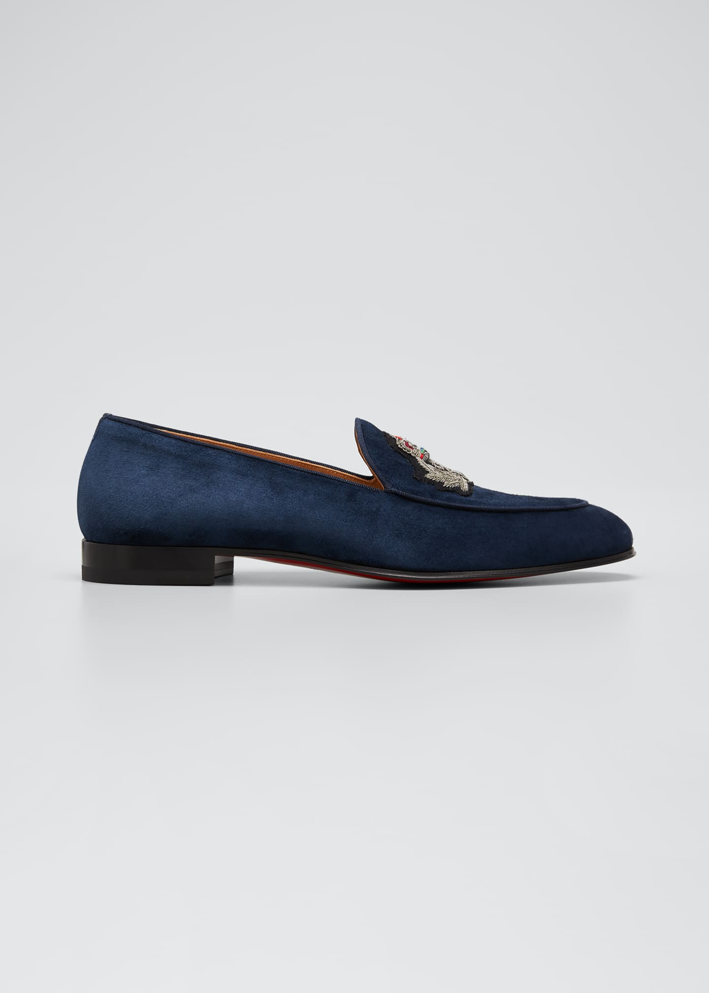 Image 1 of 4: Men's Crest on the Nile Suede Red Sole Loafers