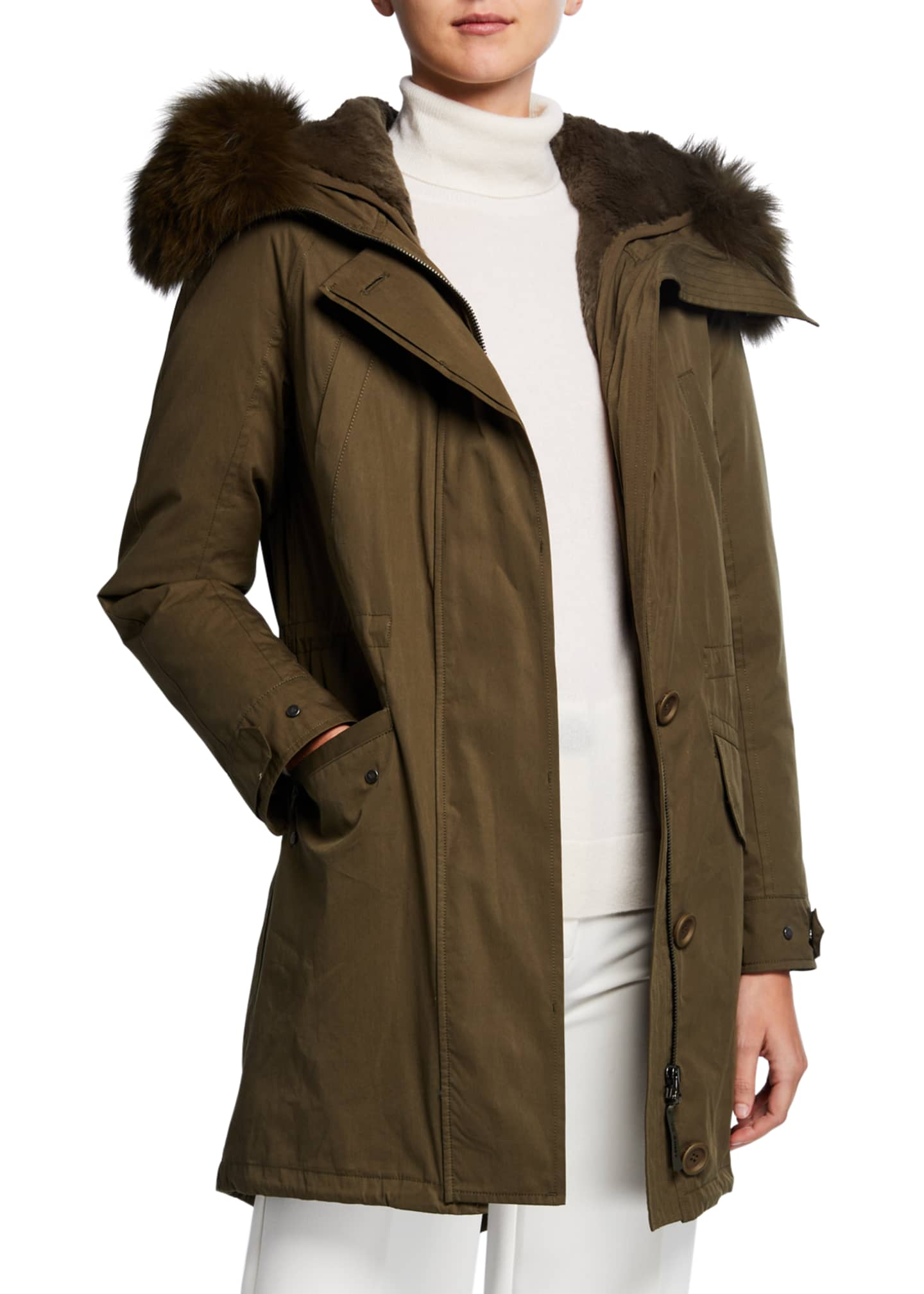 Army By Yves Salomon Detachable Fur-Ruff Hooded Parka