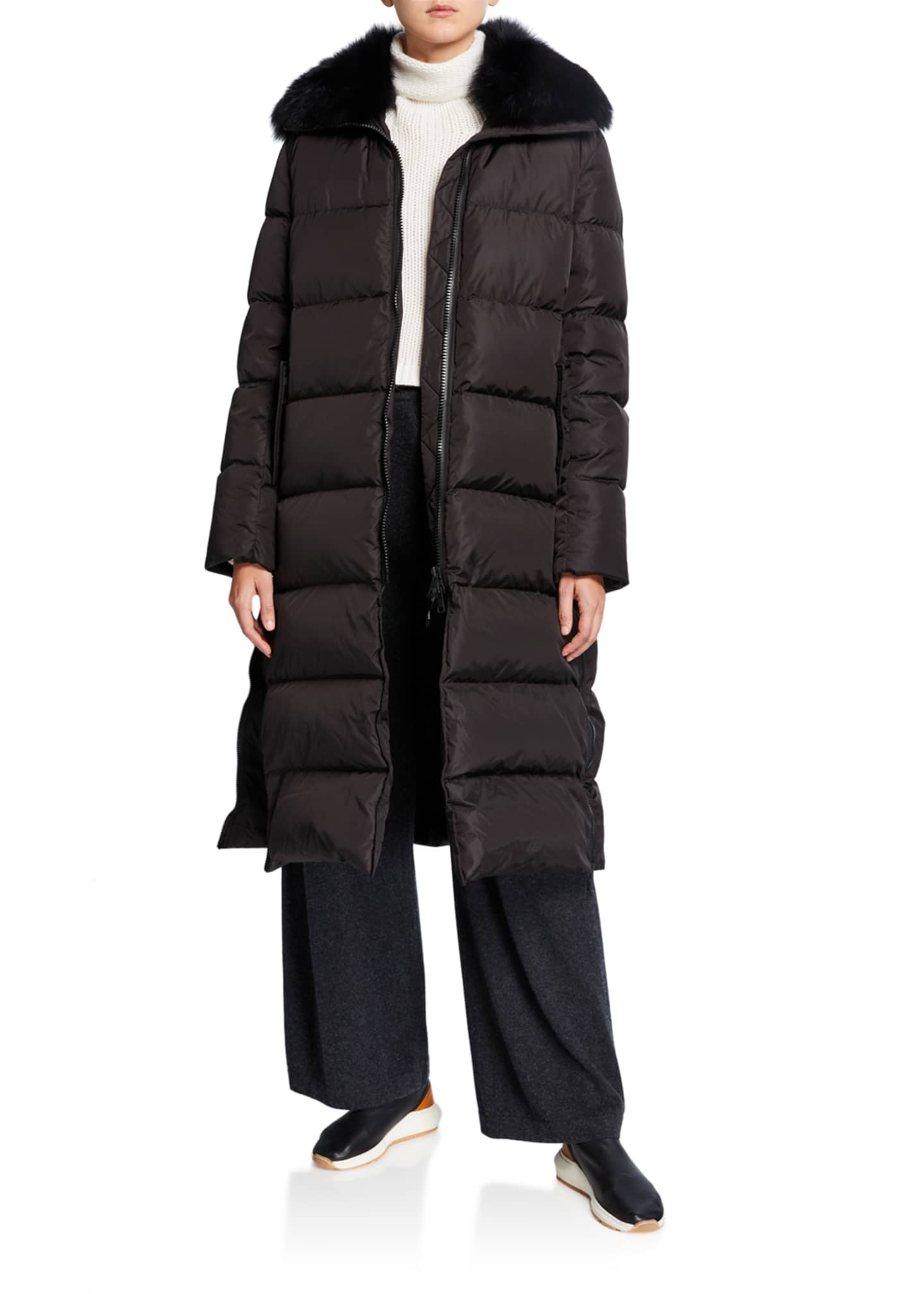 Army By Yves Salomon Long Side-Zip Puffer Coat