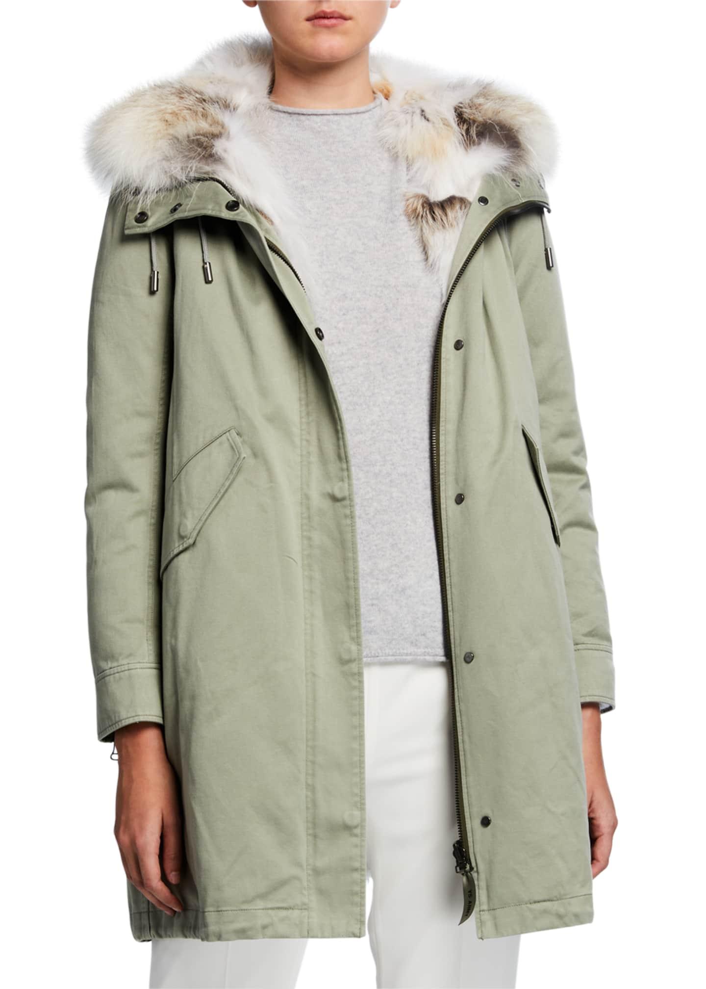Army By Yves Salomon Detachable Fur-Trim Hooded Cotton