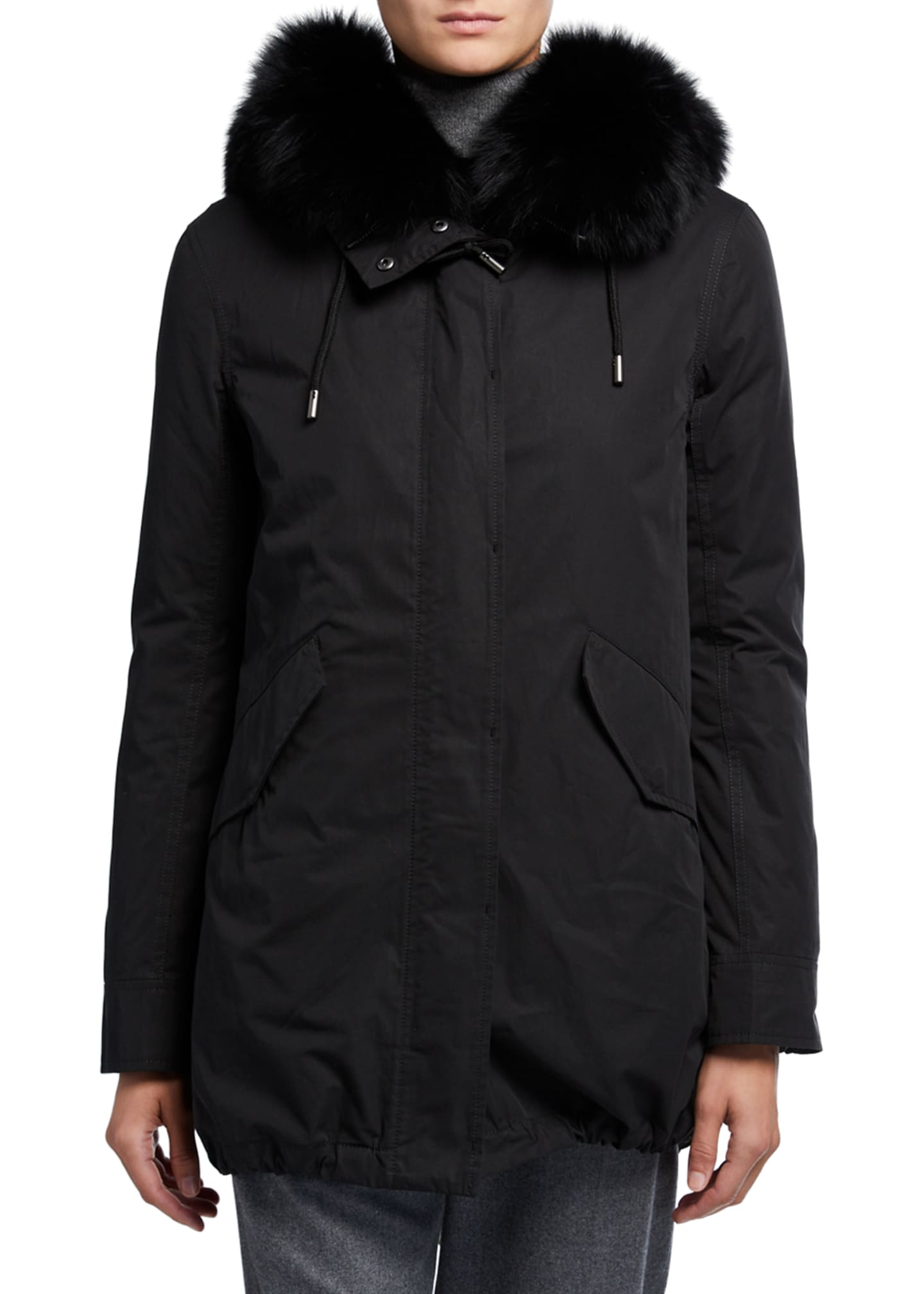 Army By Yves Salomon Removable Fox Fur-Trim Hooded