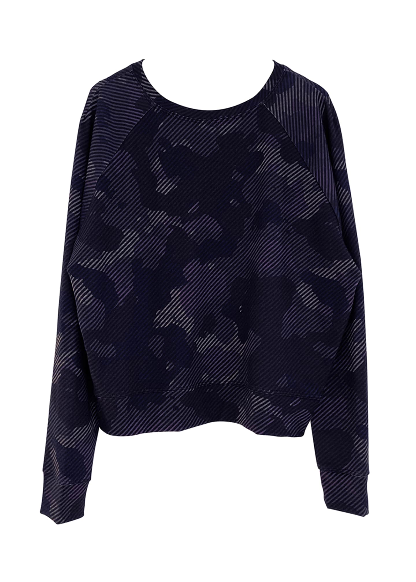 Image 1 of 1: Girl's Striped Camo Printed Long-Sleeve Crewneck Top, Size 7-16