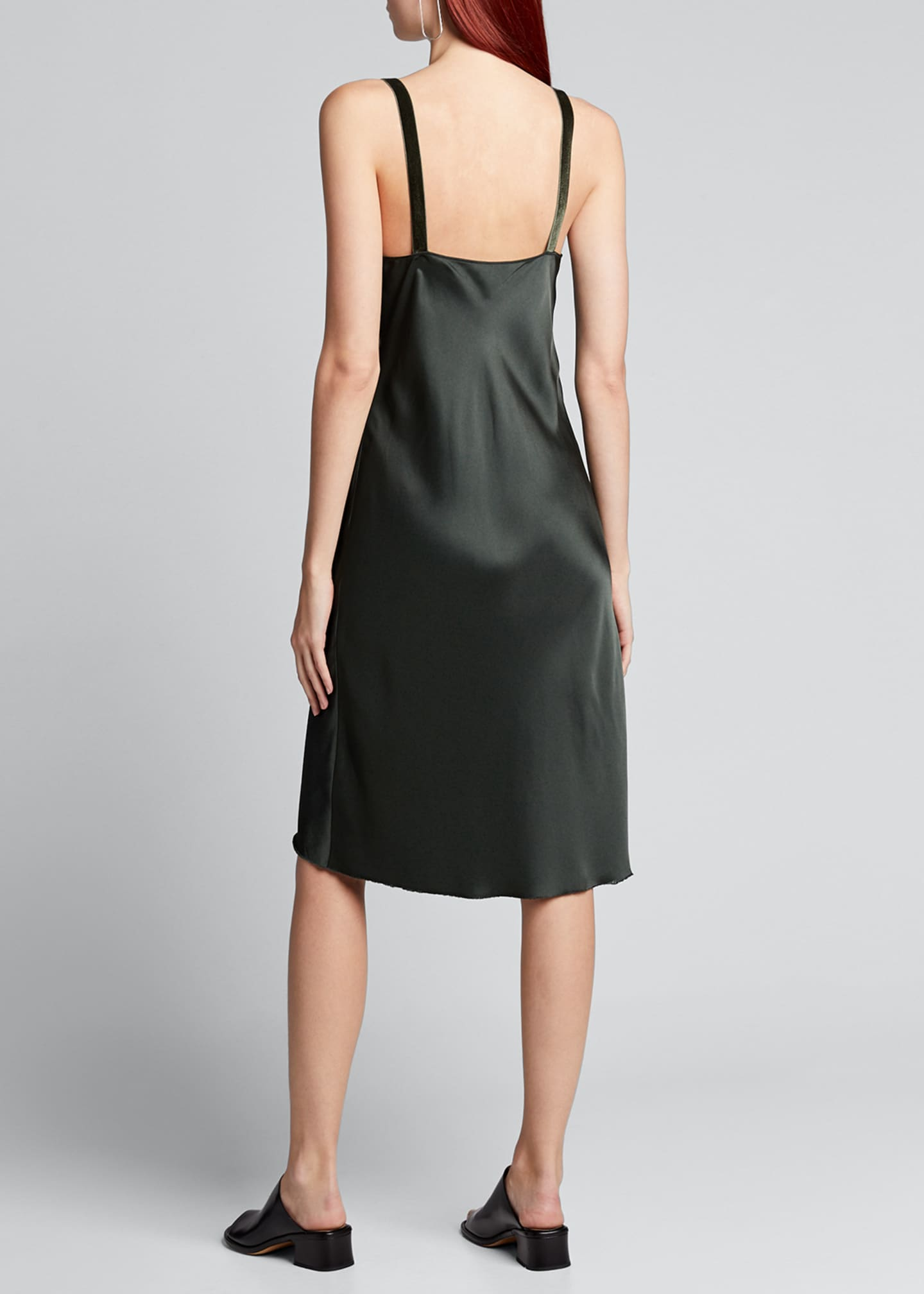 Image 2 of 4: Velvet-Strap Satin Slip Dress