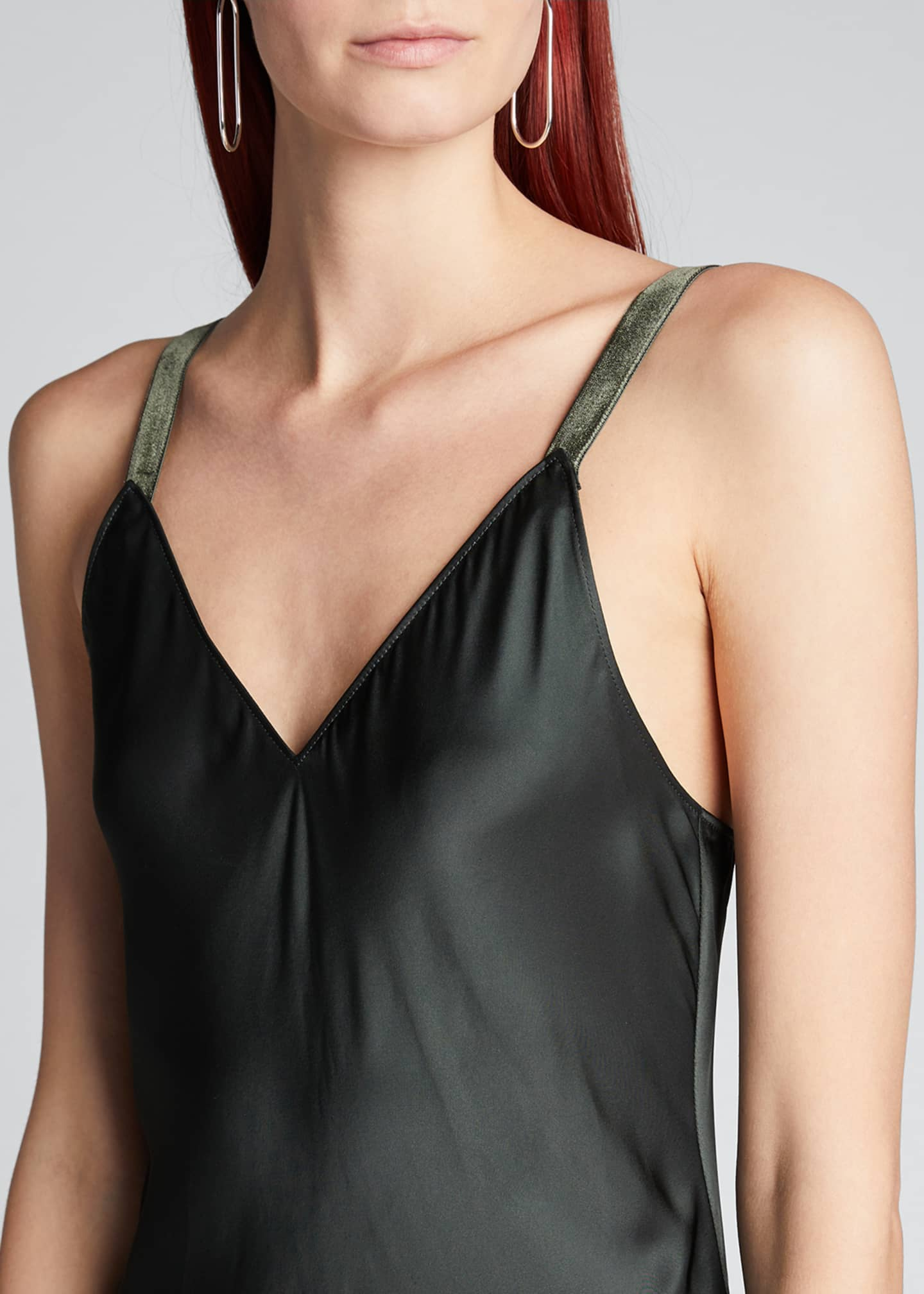 Image 4 of 4: Velvet-Strap Satin Slip Dress