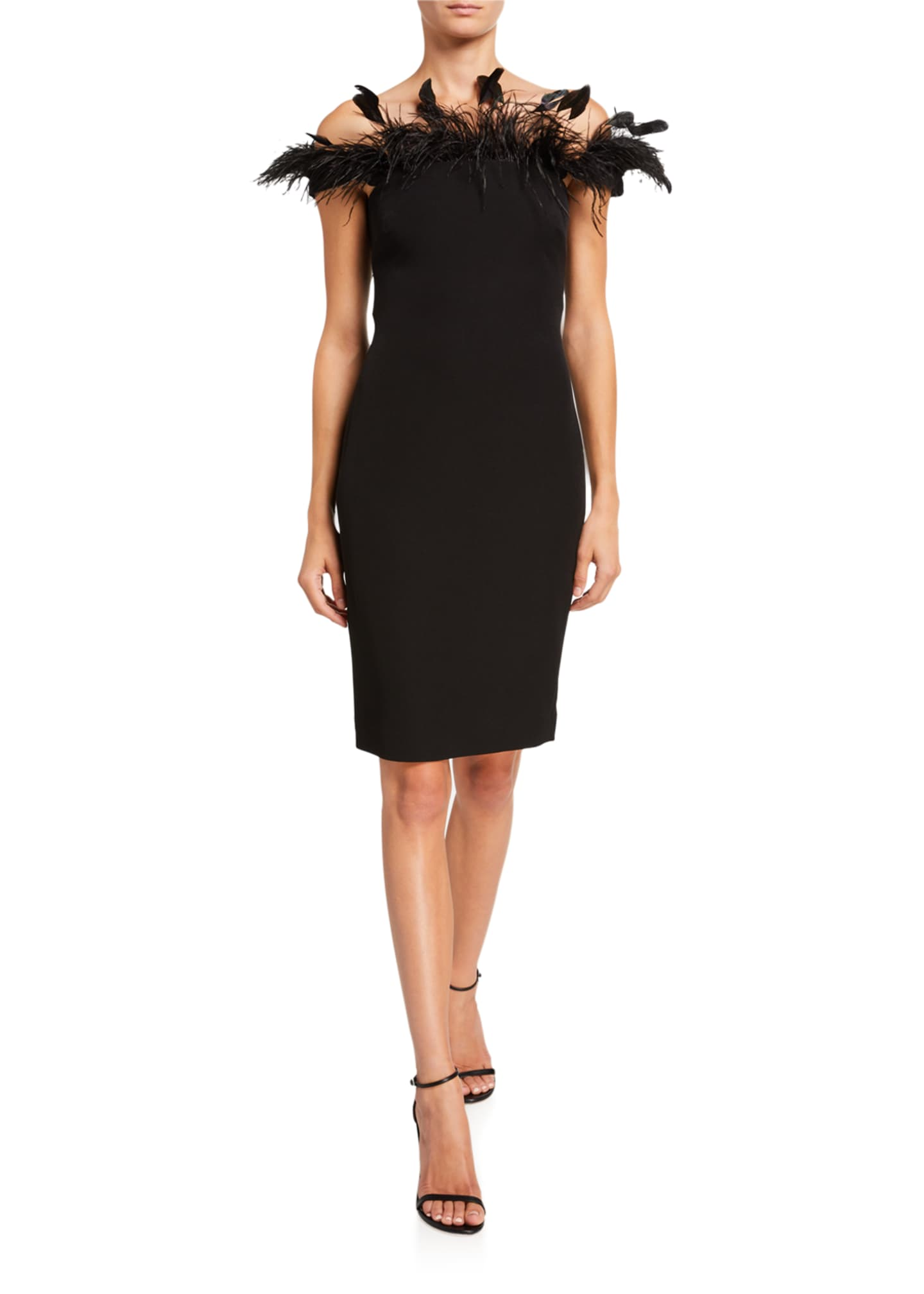 Badgley Mischka Collection Off-The-Shoulder Crepe Sheath Dress w/