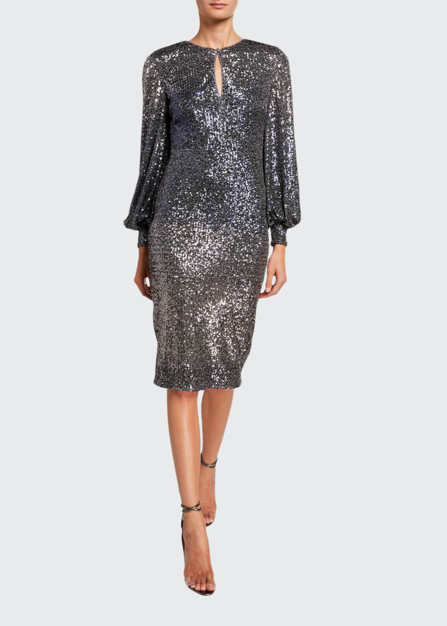 Badgley Mischka Collection Ombre Sequin Poet-Sleeve Keyhole Neck