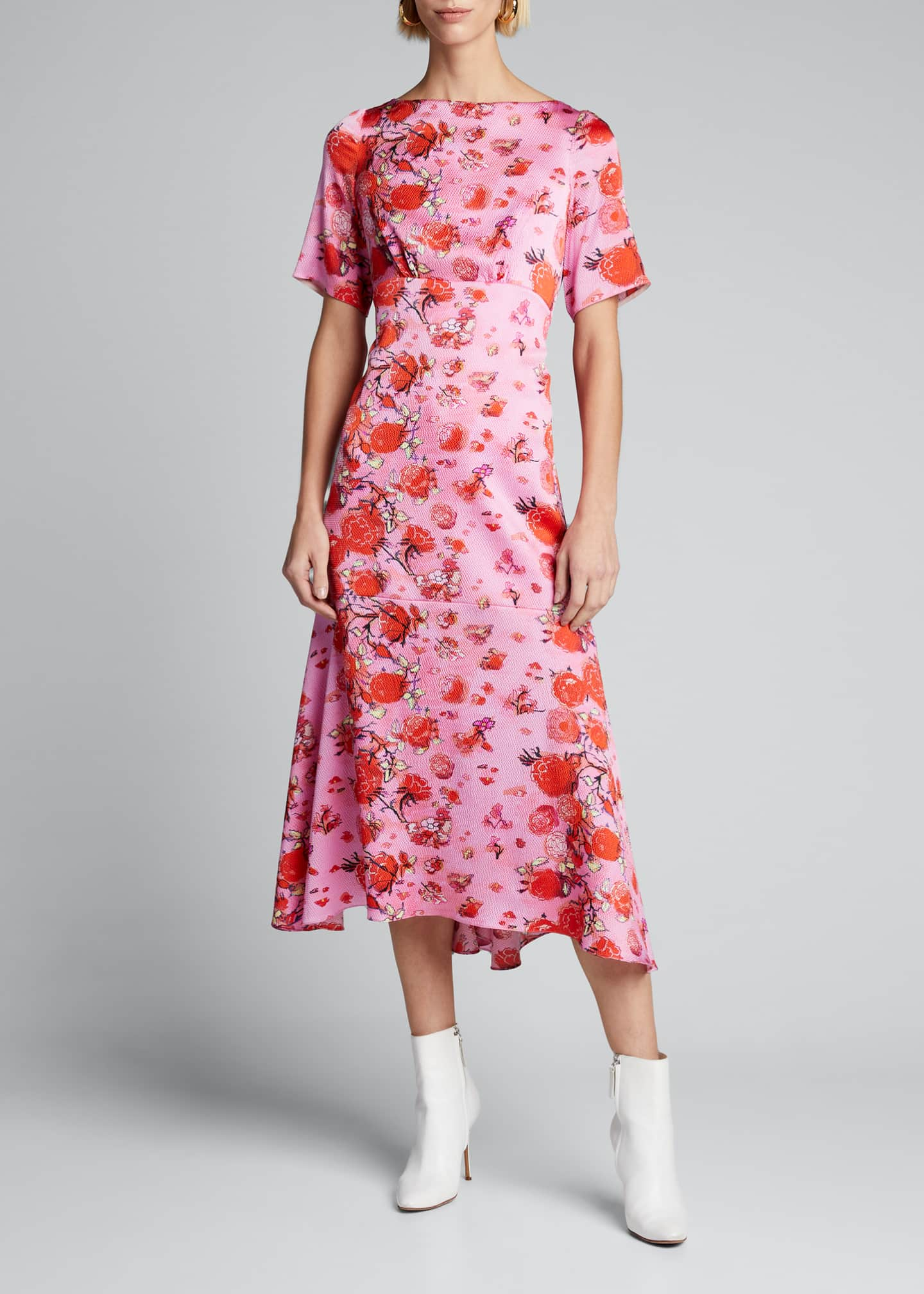 Image 3 of 5: Floral Drop-Waist Midi Dress
