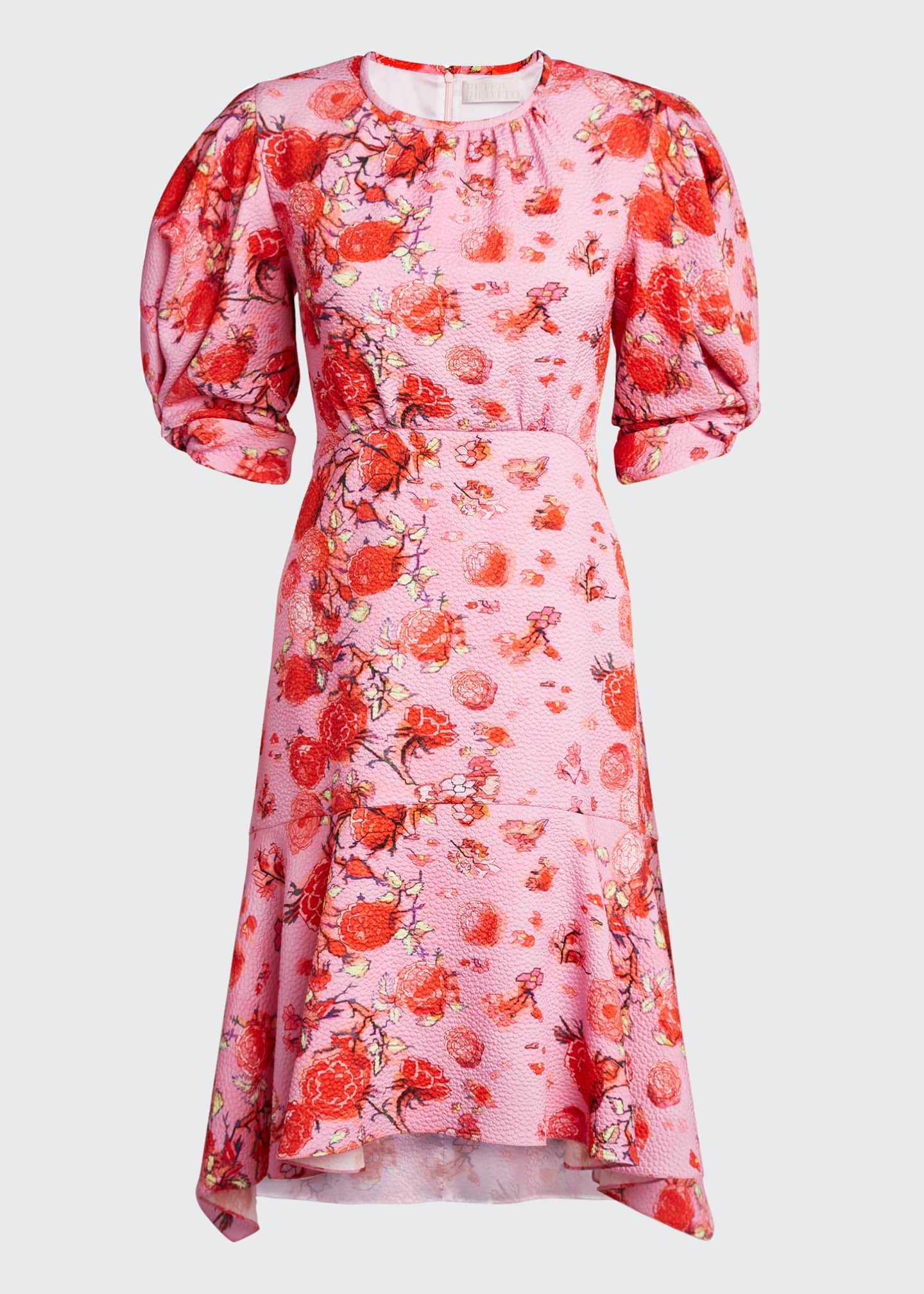 Image 5 of 5: Floral Drop-Waist Midi Dress