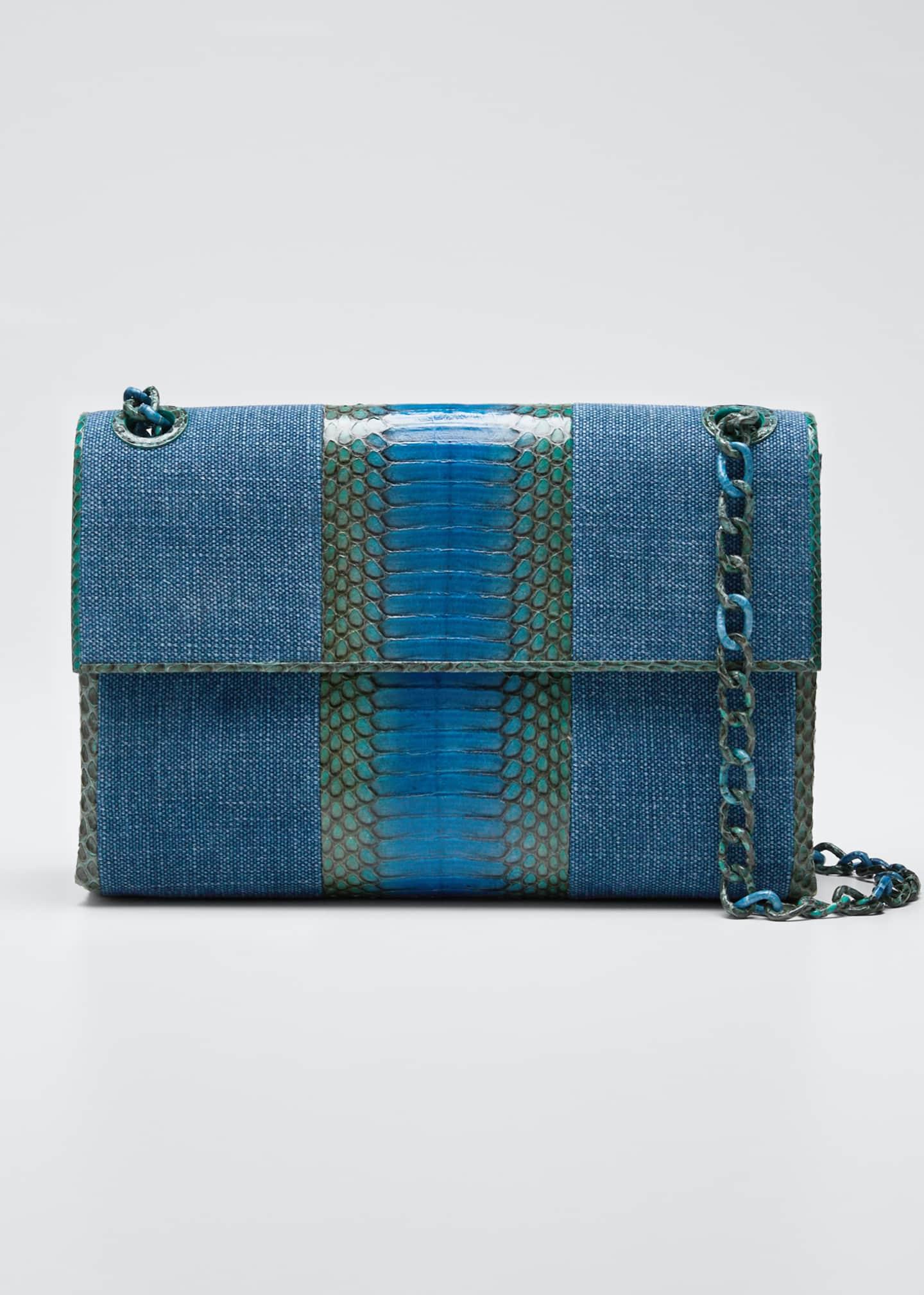Nancy Gonzalez Madison Medium Linen/Snake Chain Shoulder Bag