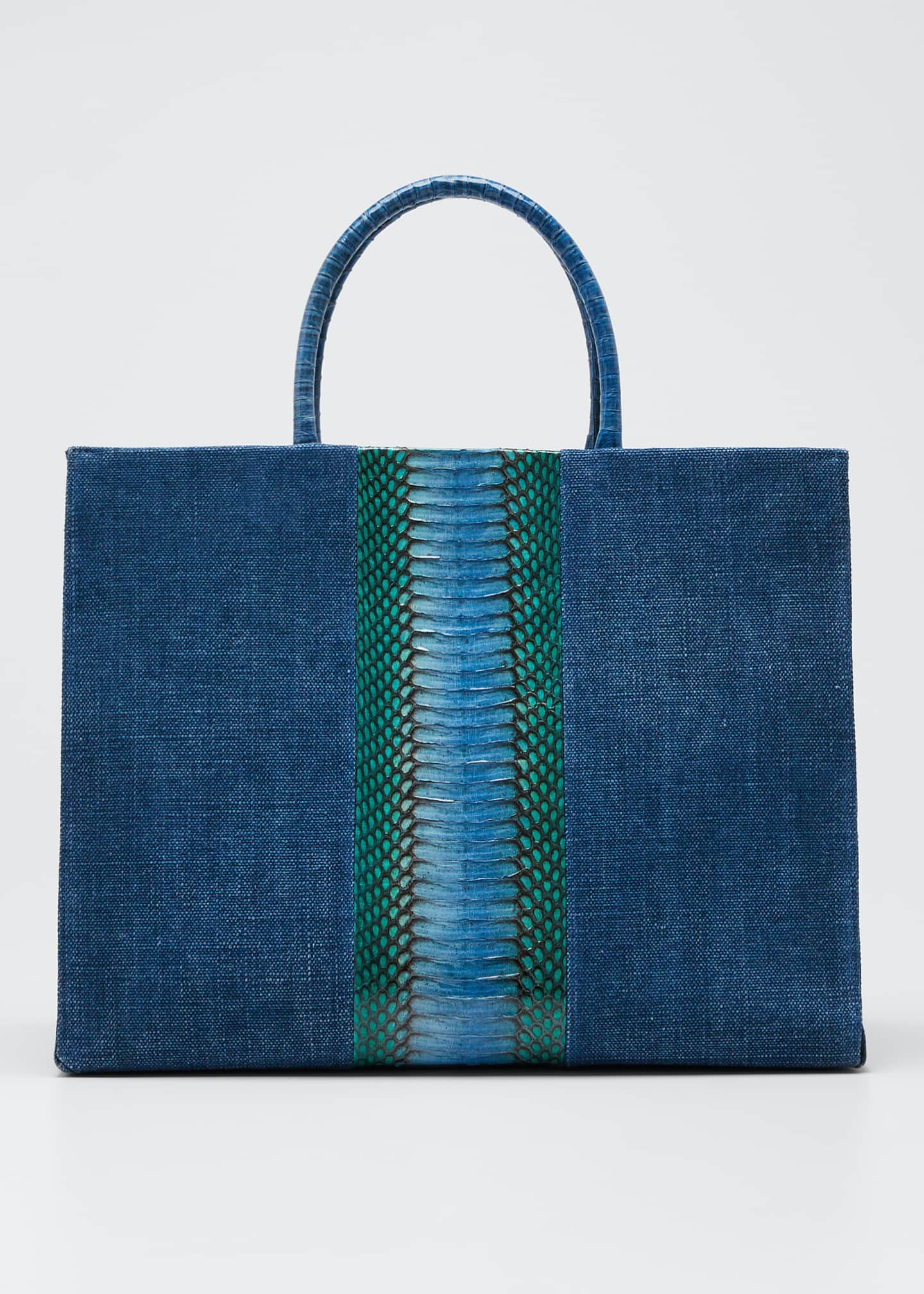 Nancy Gonzalez Double-Handle Linen Large Tote Bag