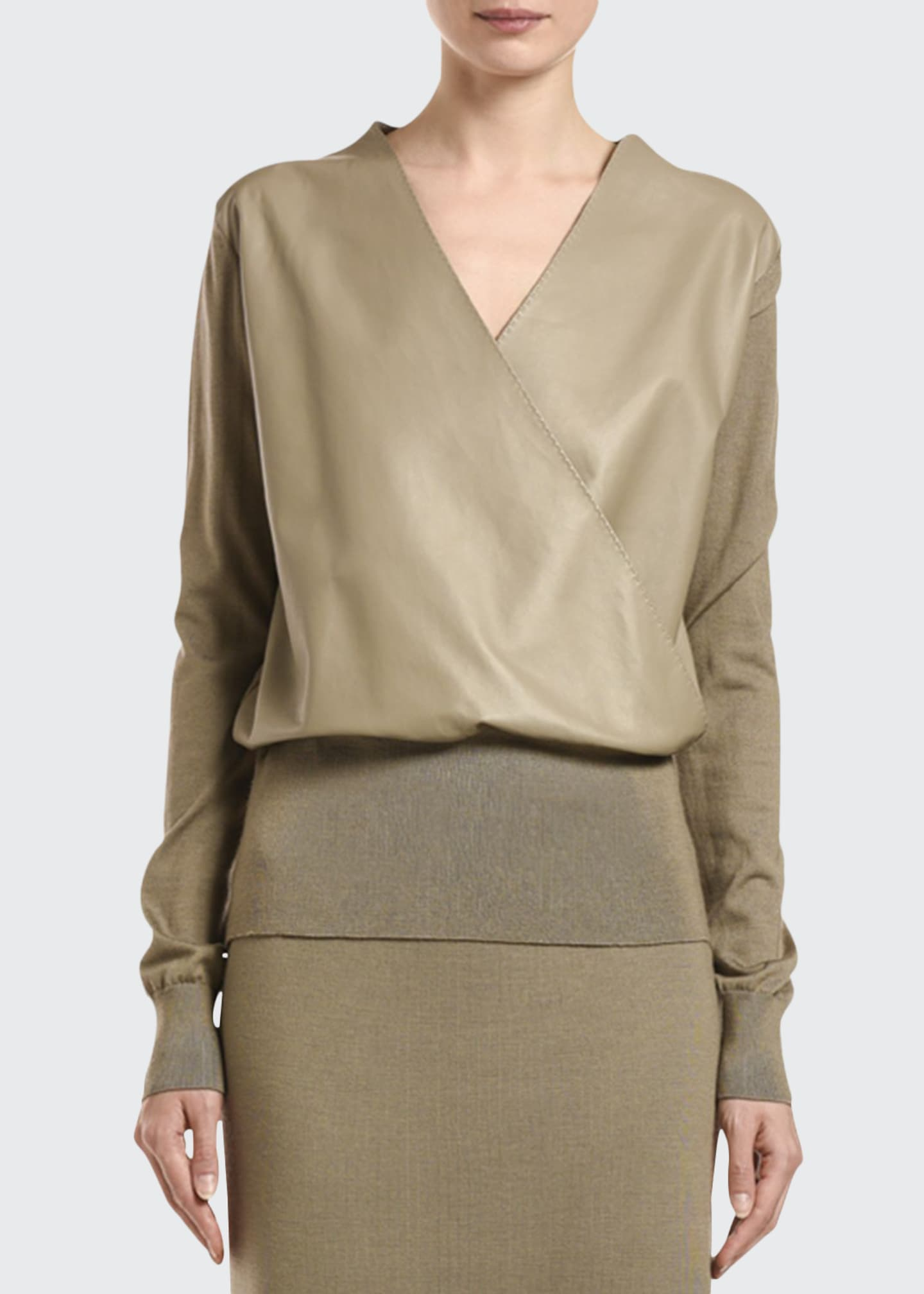 Agnona Wool-Knit Wrap Bodysuit with Leather Panel Front