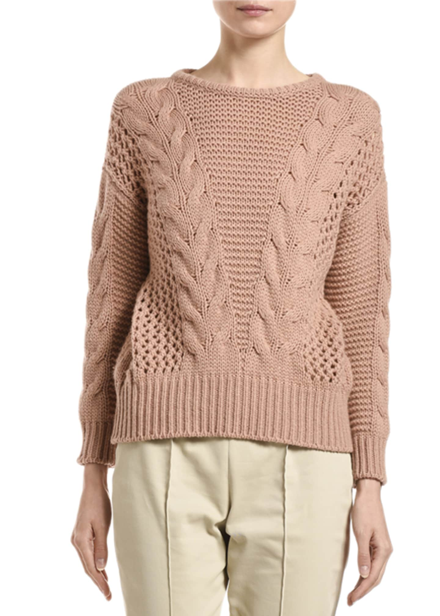 Image 1 of 2: Cashmere Cable-Knit Sweater