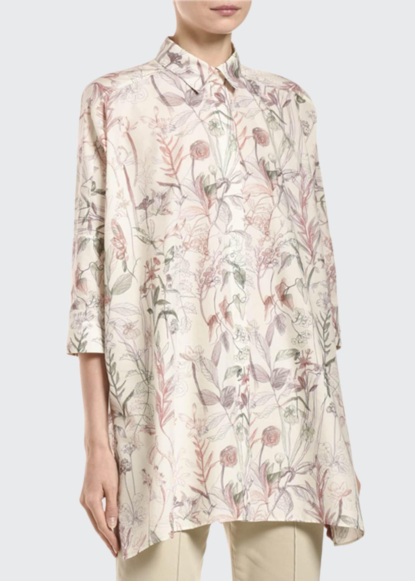 Agnona 3/4-Sleeve Flower-Print Poplin Poncho Shirt