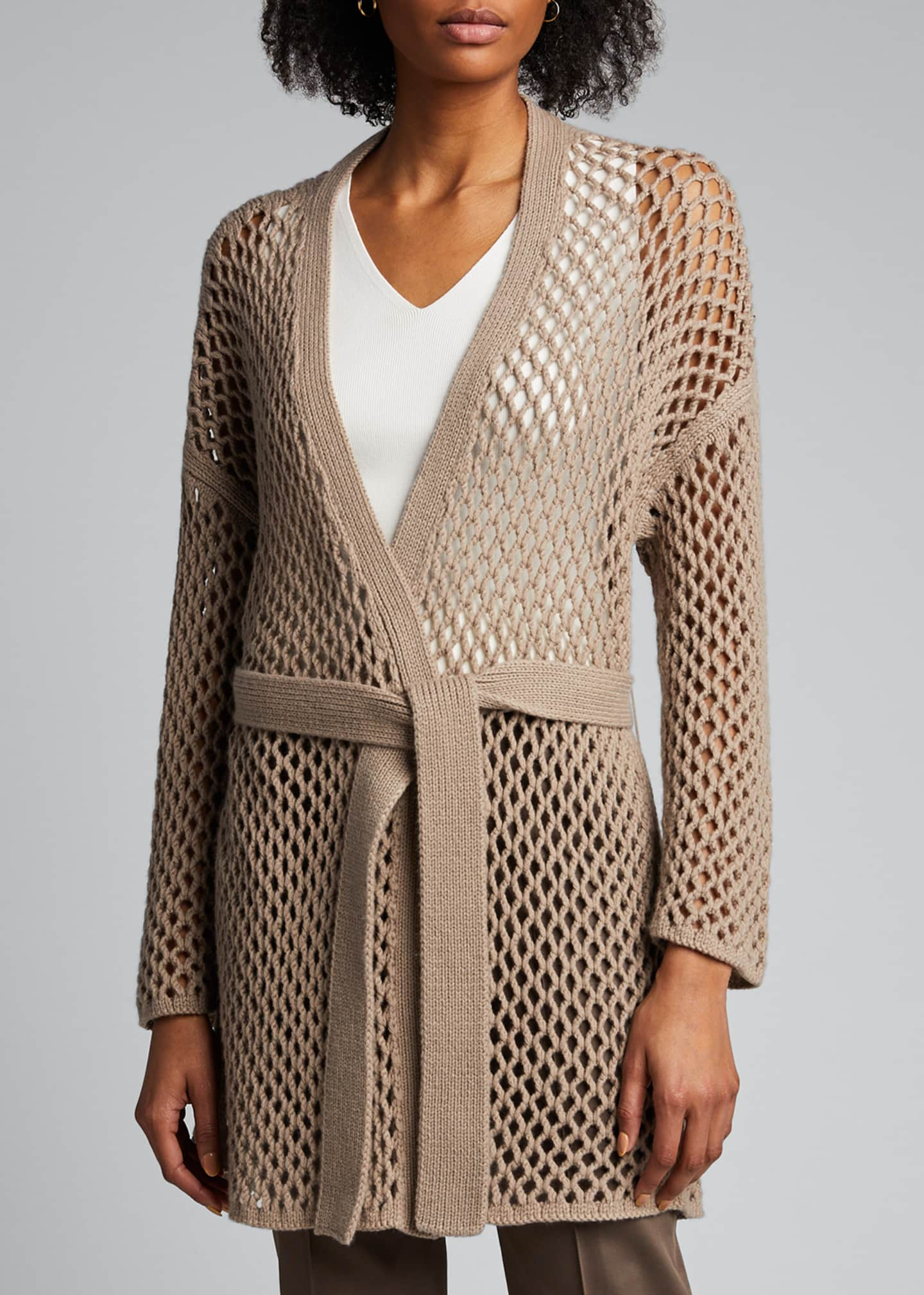 Image 3 of 4: Cashmere Mesh Duster Cardigan