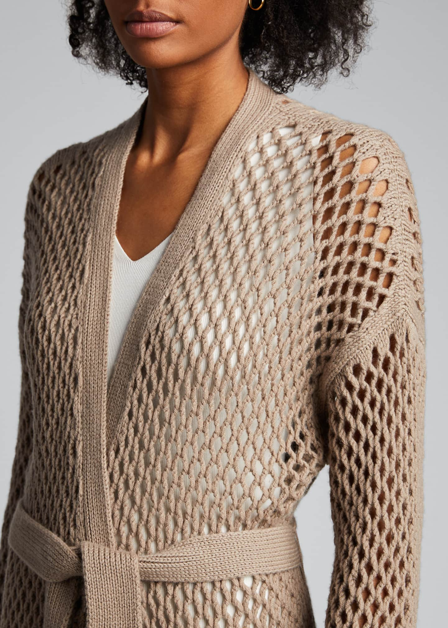 Image 4 of 4: Cashmere Mesh Duster Cardigan