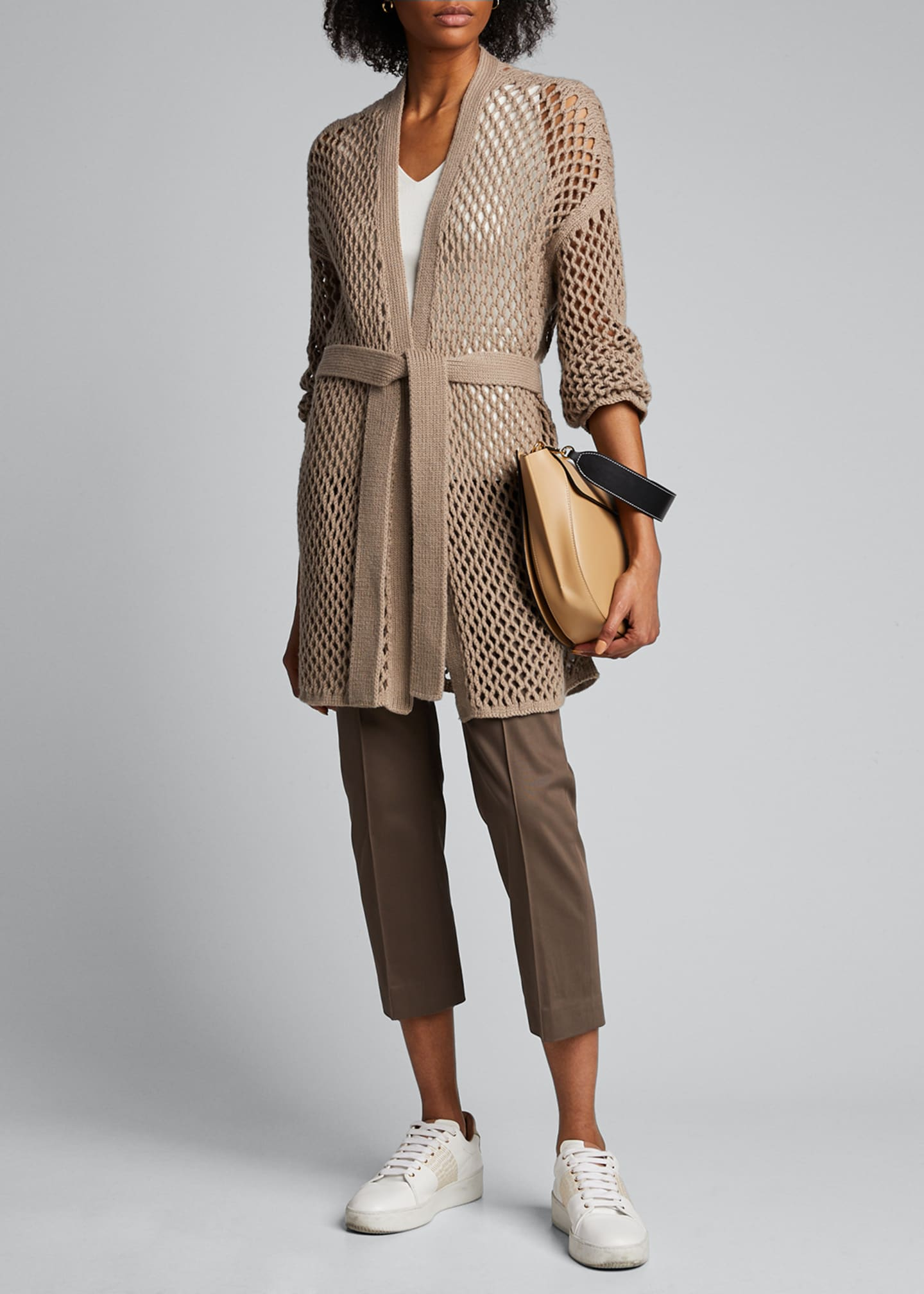 Image 1 of 4: Cashmere Mesh Duster Cardigan