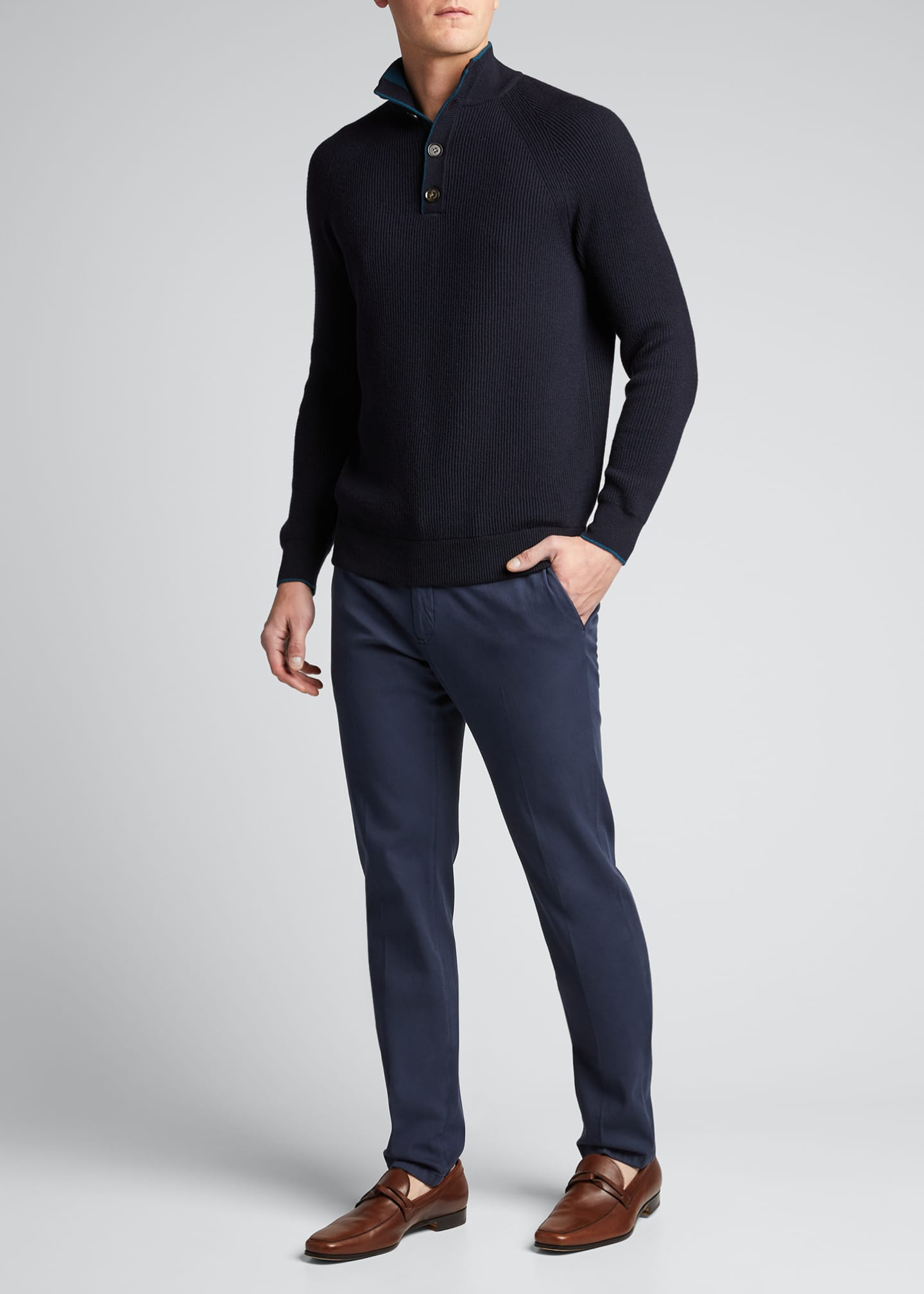 Image 1 of 4: Men's Slim Straight-Leg Stretch-Cotton Pants