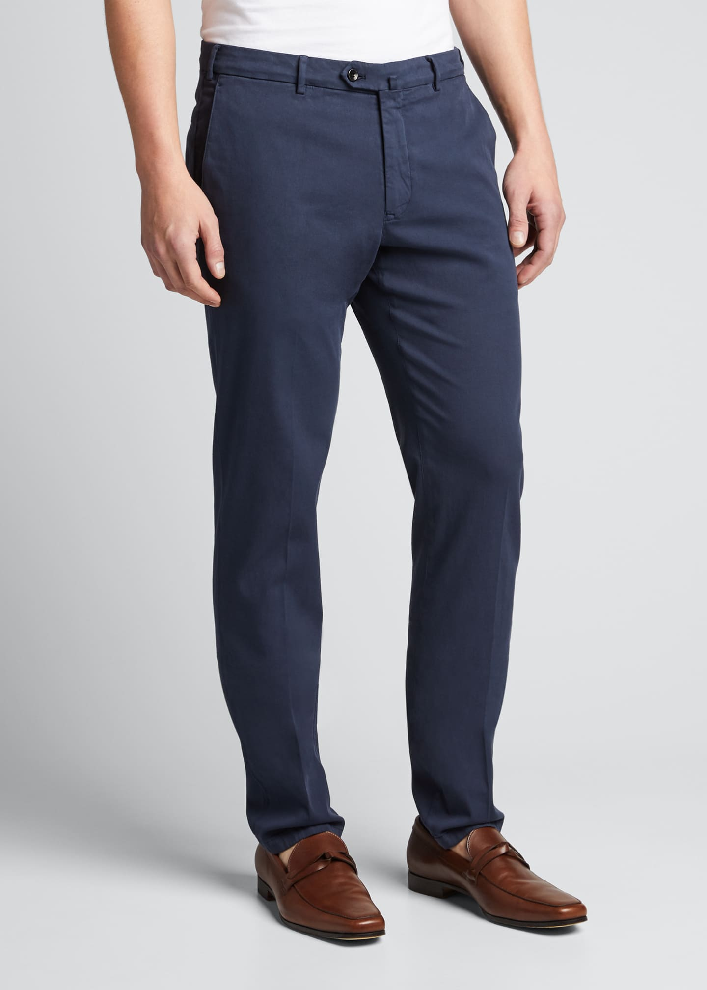 Image 3 of 4: Men's Slim Straight-Leg Stretch-Cotton Pants