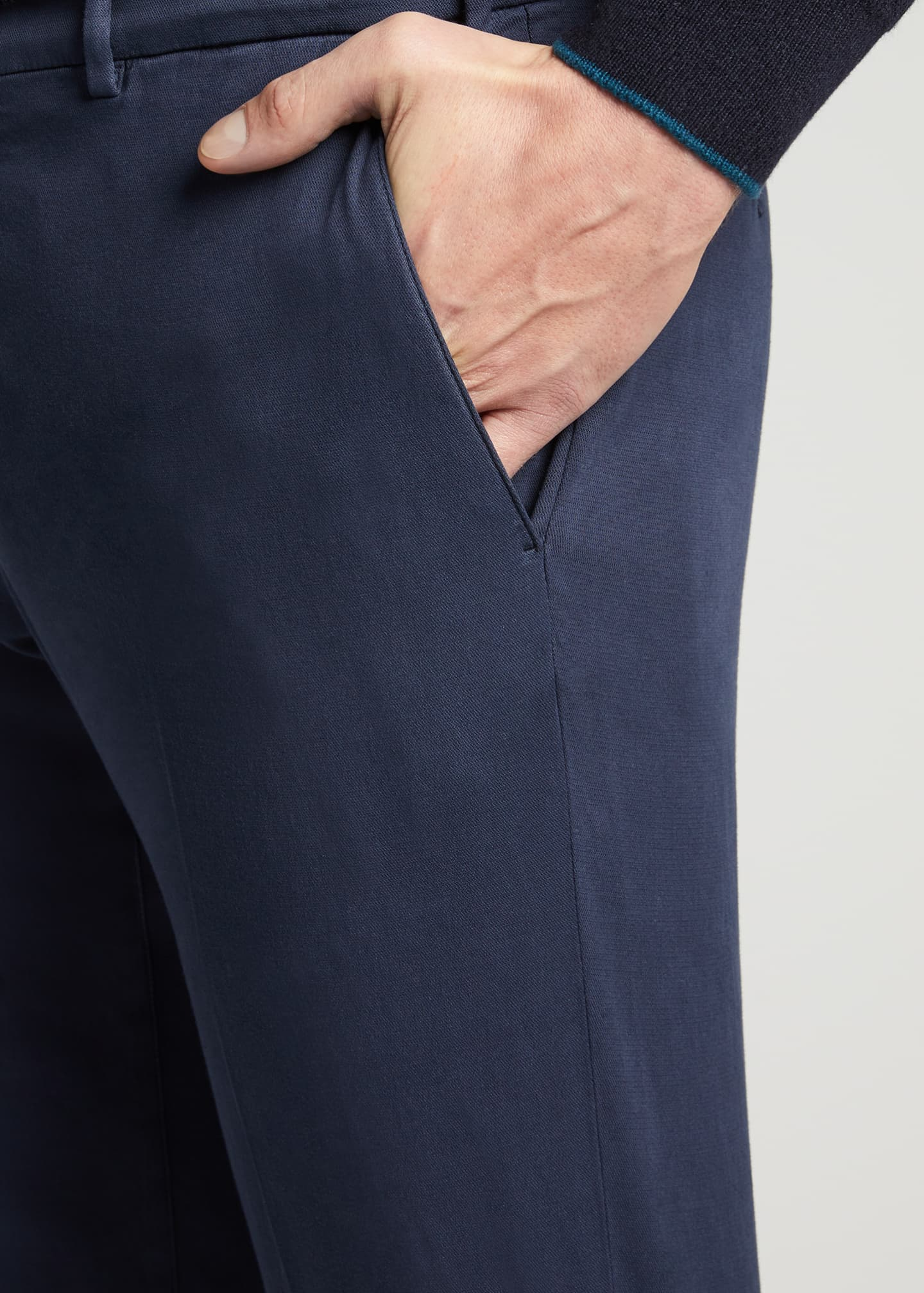 Image 4 of 4: Men's Slim Straight-Leg Stretch-Cotton Pants