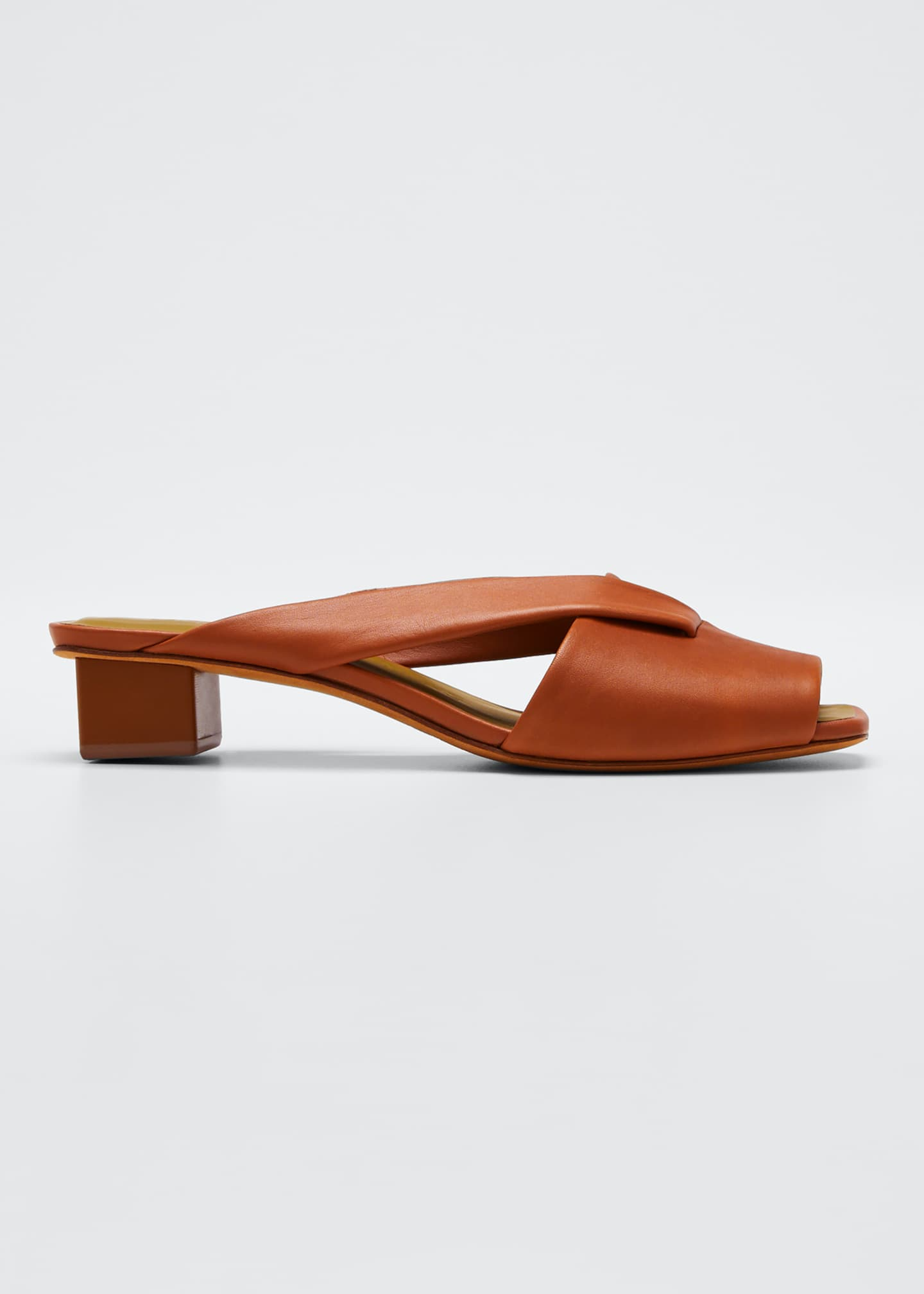 Gray Matters Loop Slide Leather Sandals, Brown