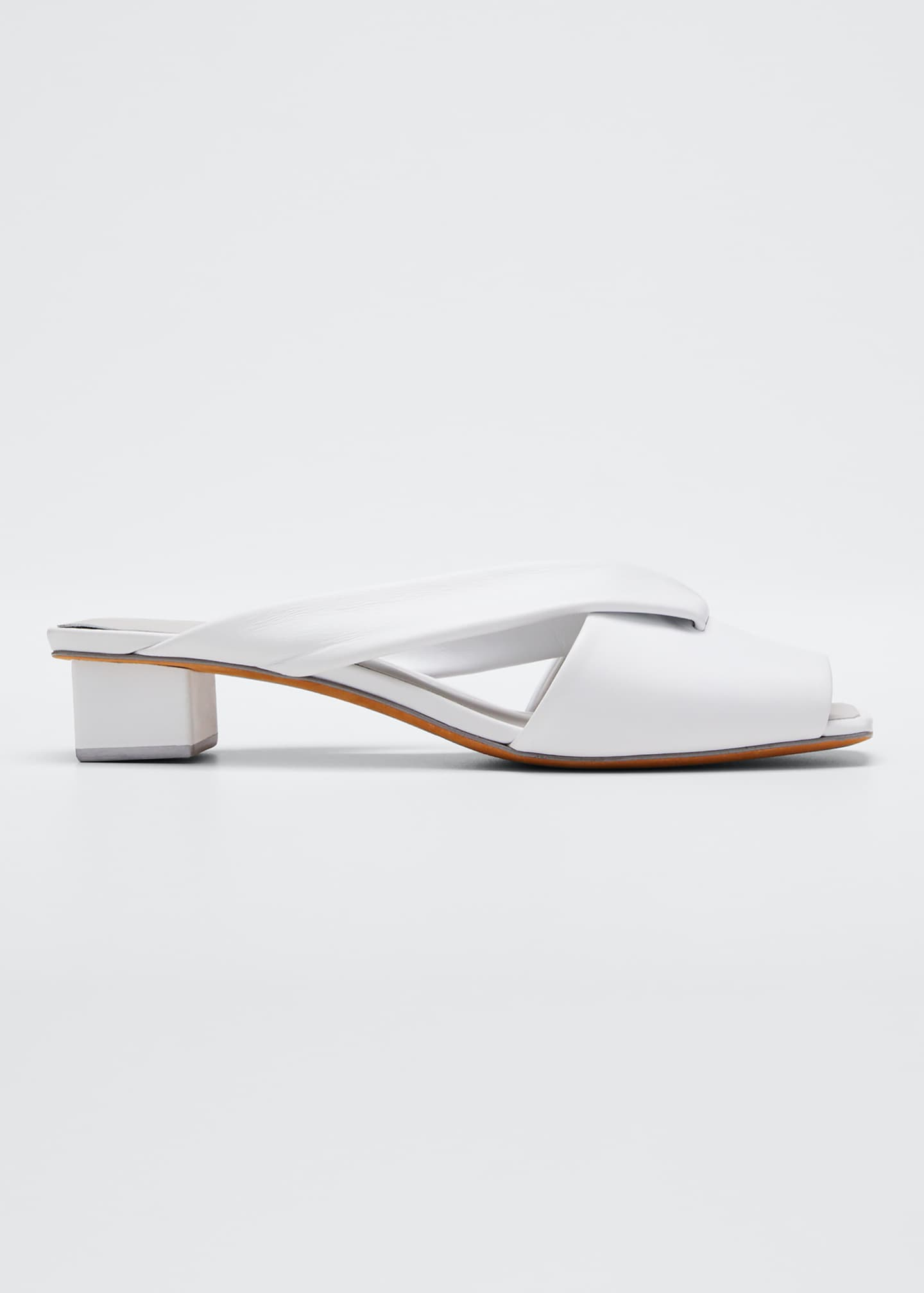 Gray Matters Loop Slide Leather Sandals, White
