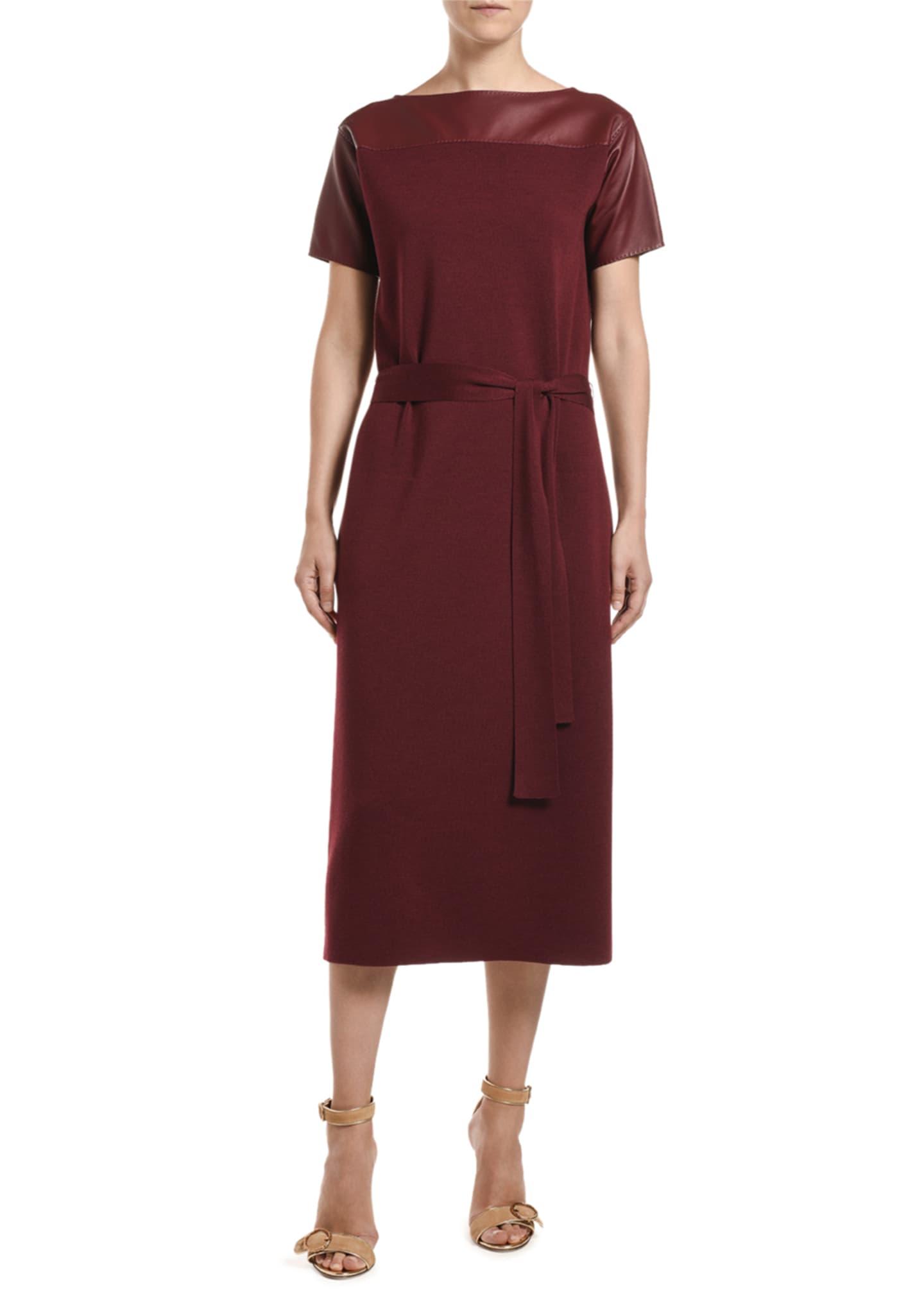 Agnona Leather-Shoulder Merino-Silk Knit Midi Dress